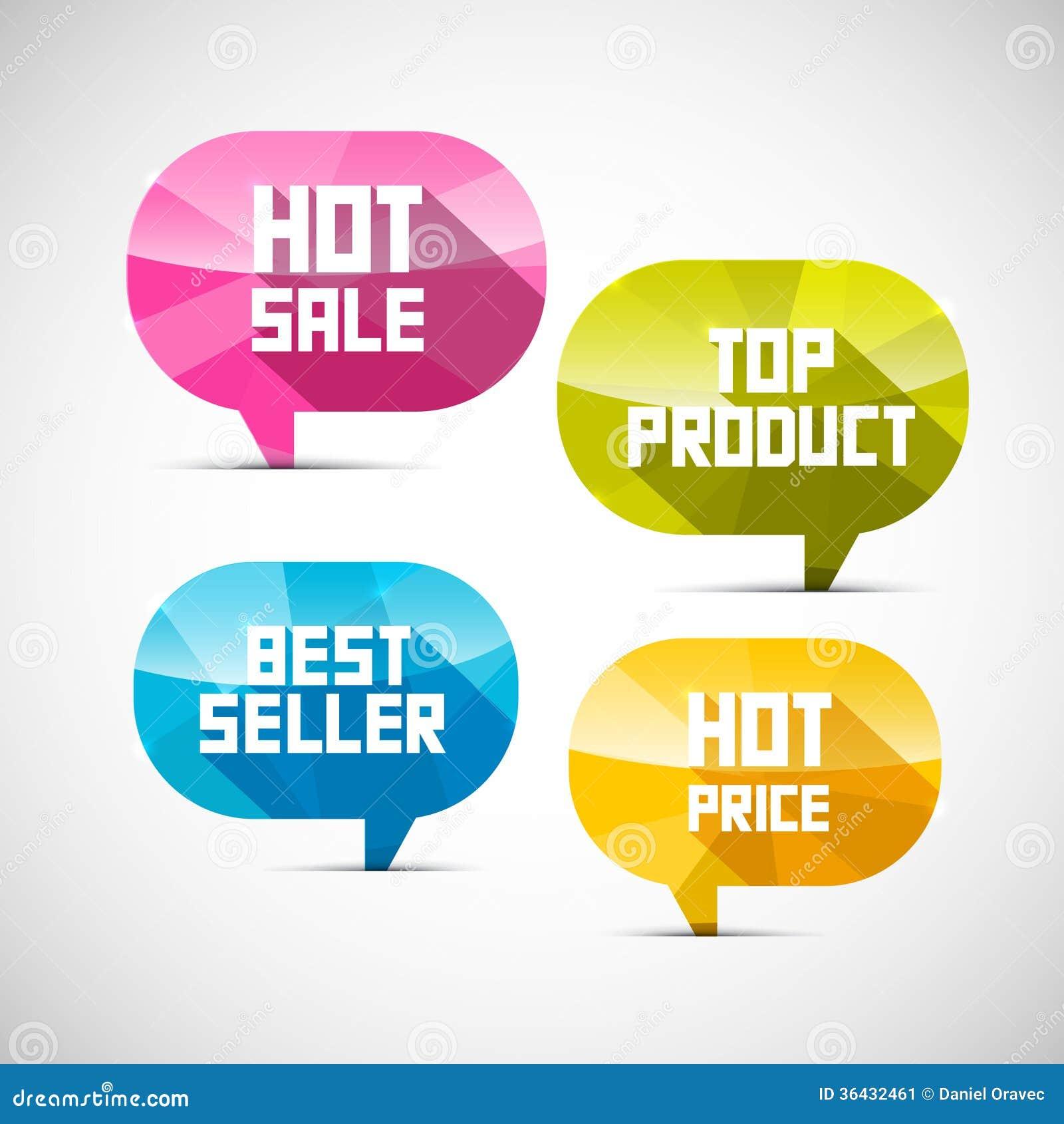 Etiquetas o melhor vendedor, produto superior, venda quente, preço