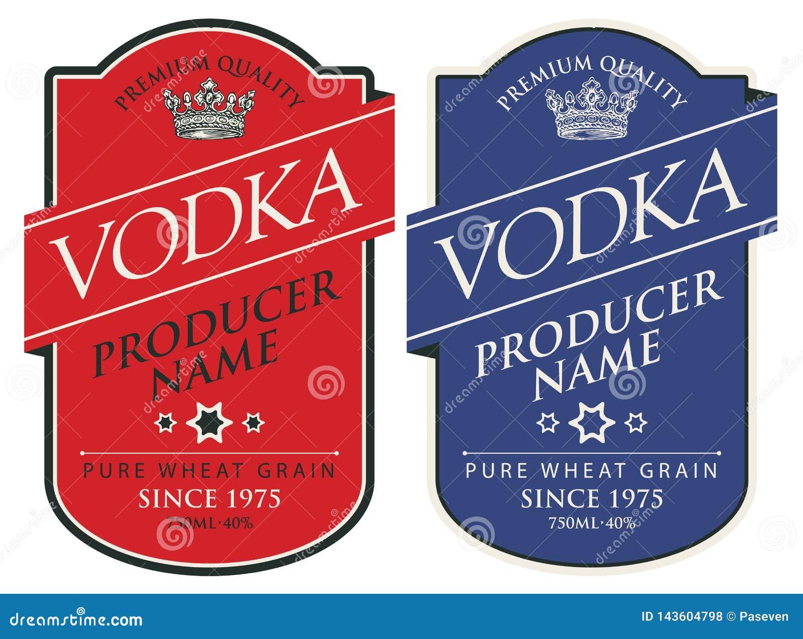 Etiquetas para la vodka con las inscripciones y la corona