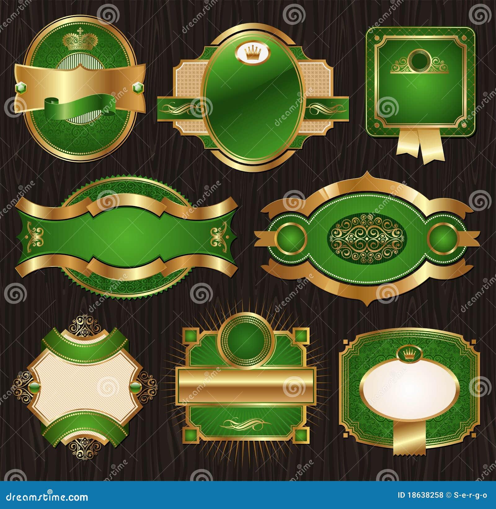 Etiquetas quadro ornamentado luxuosas dourado-verdes do vintage