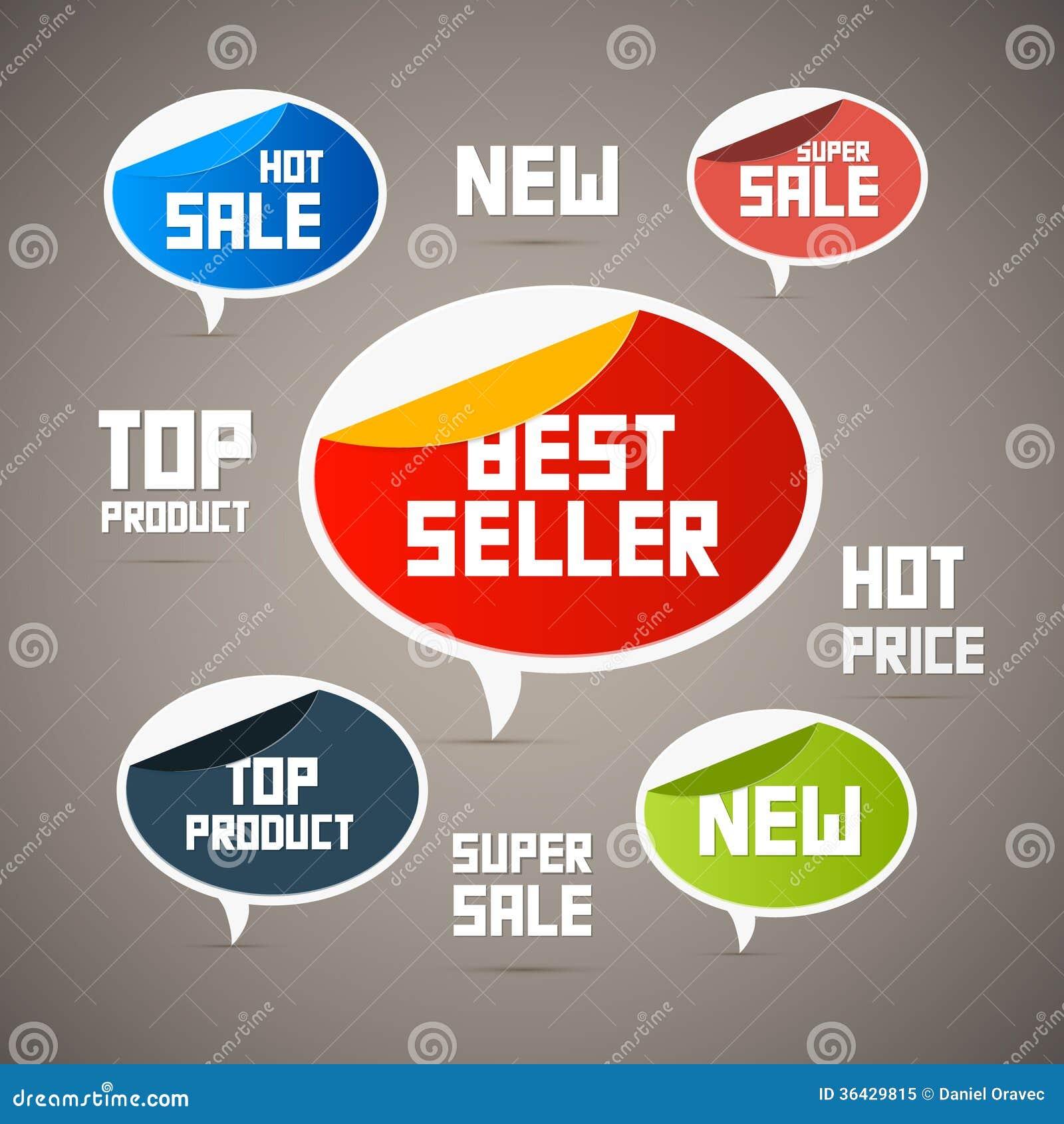 Etiquetas retros, etiquetas. O melhor vendedor, novo…