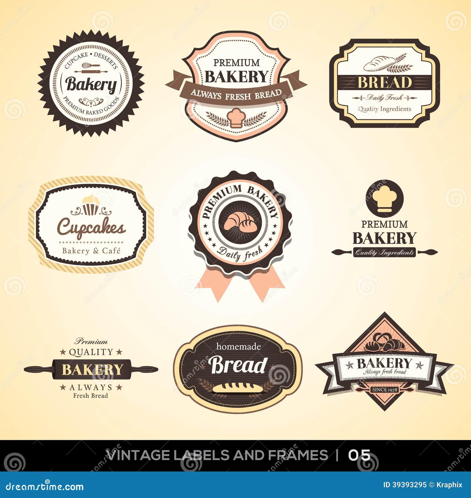 Etiquetas Y Marcos Del Logotipo De La Panadería Del Vintage ...