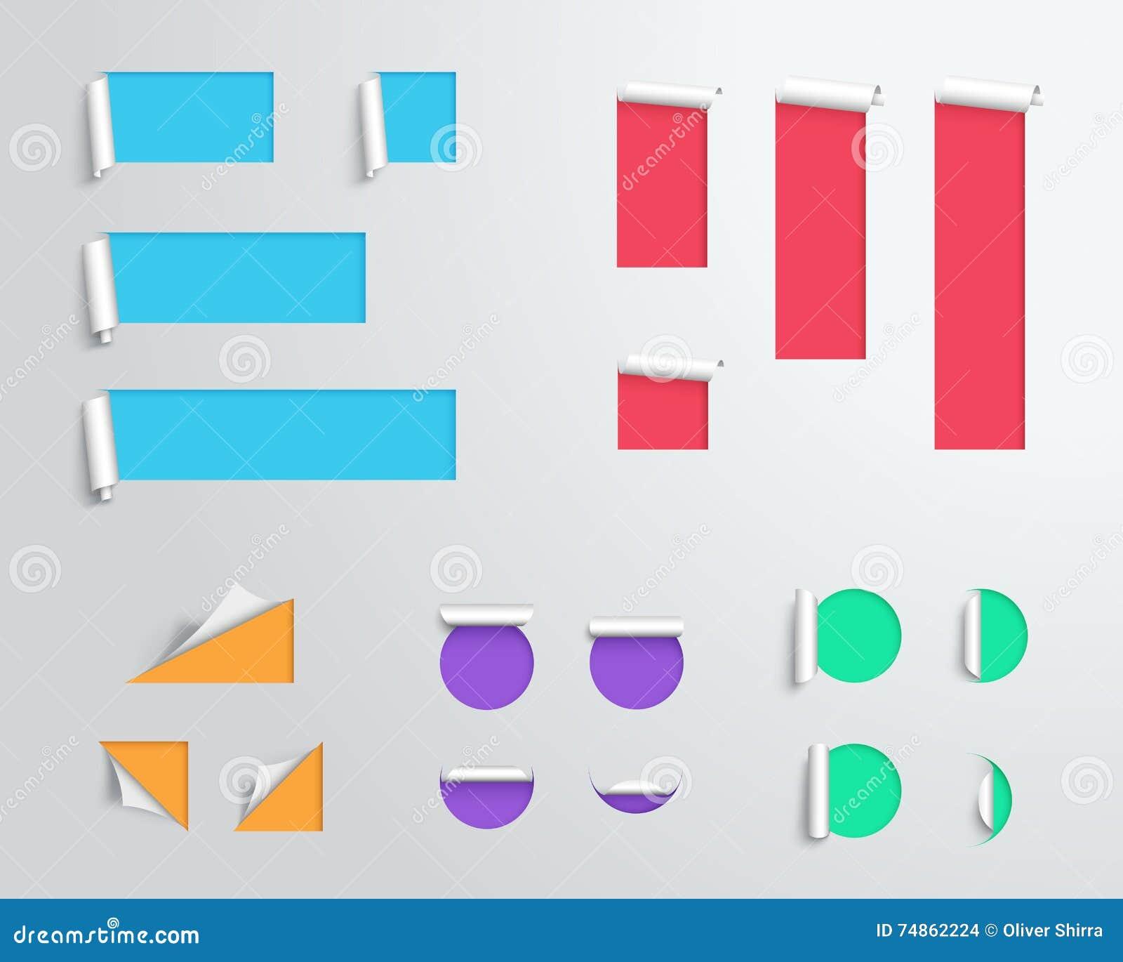 Etiquete La Papiroflexia 3d Colorido En Blanco Plantilla Grande Del ...