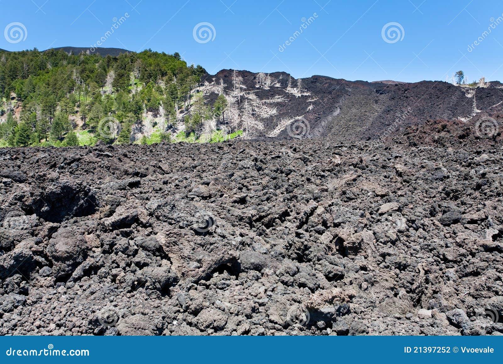 Etna wzmacniał lawowego Sicily skłonu wulkan