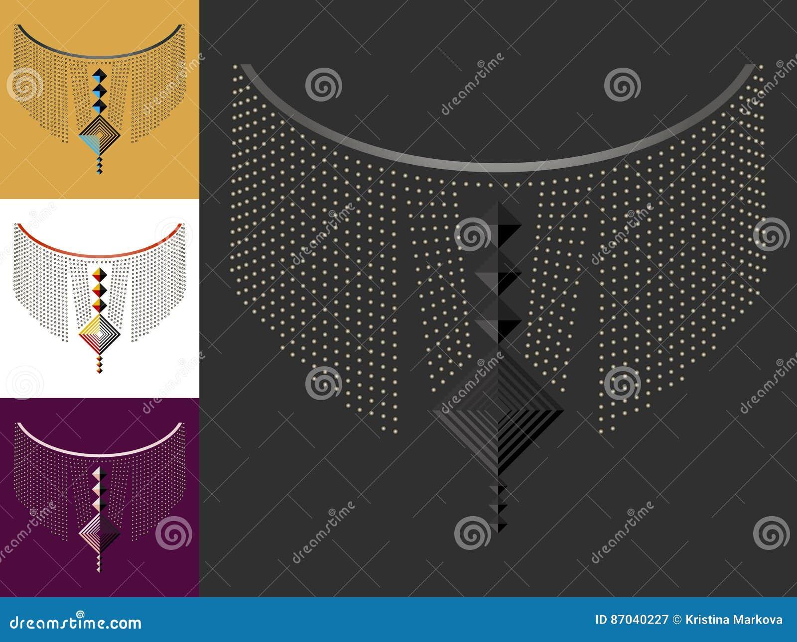 Etniczna geometryczna szyi linii broderia Dekoracja dla odziewa