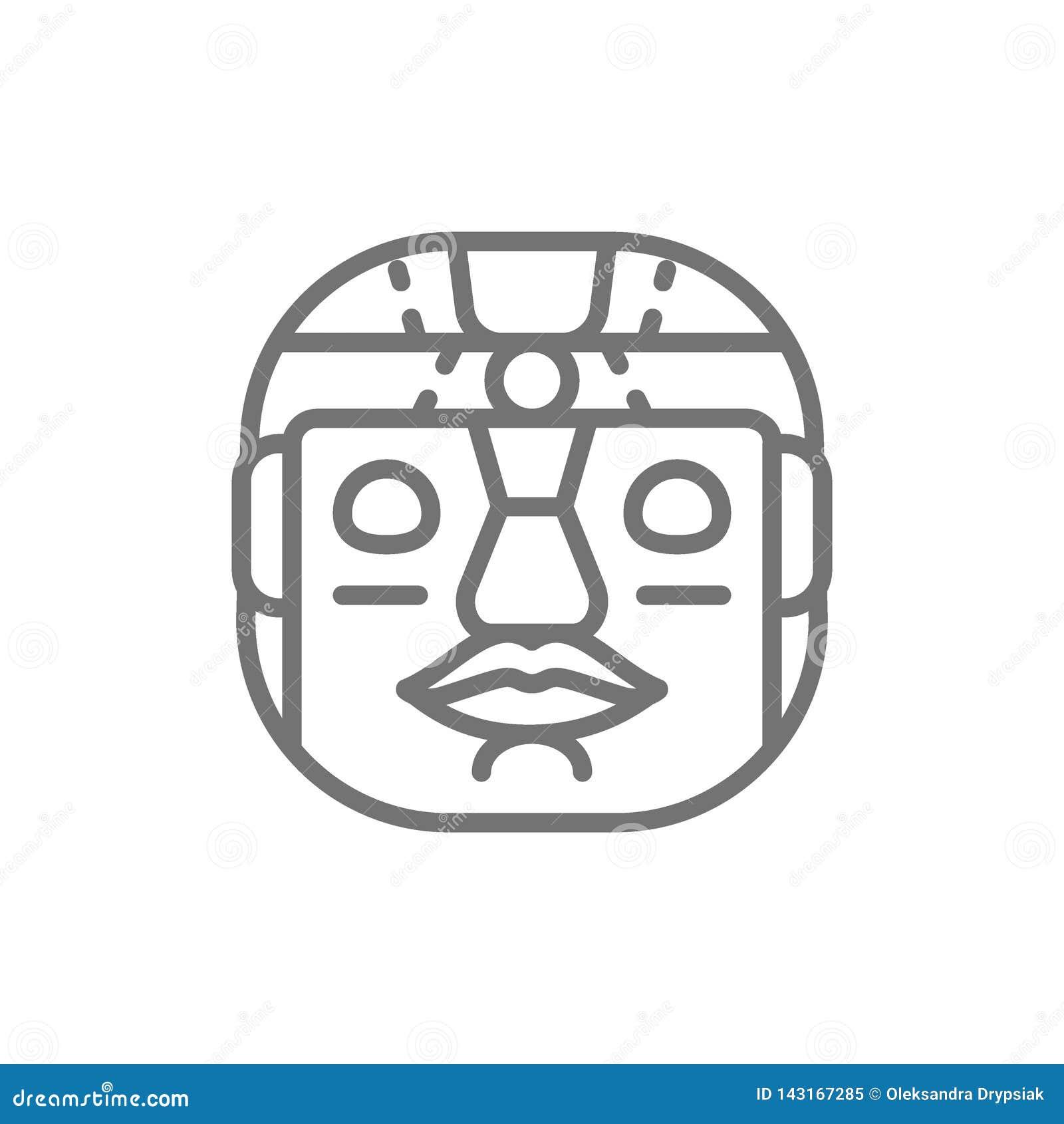 Etniczna plemienna maska, majska, aztec kreskowa ikona