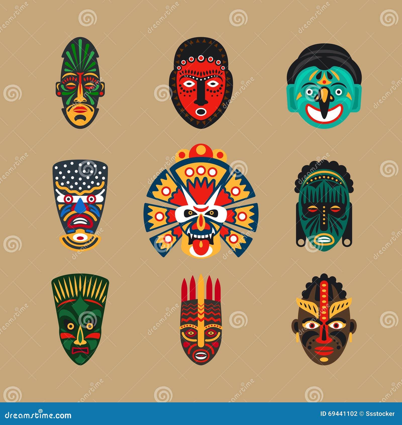 Etniczne maskowe ikony