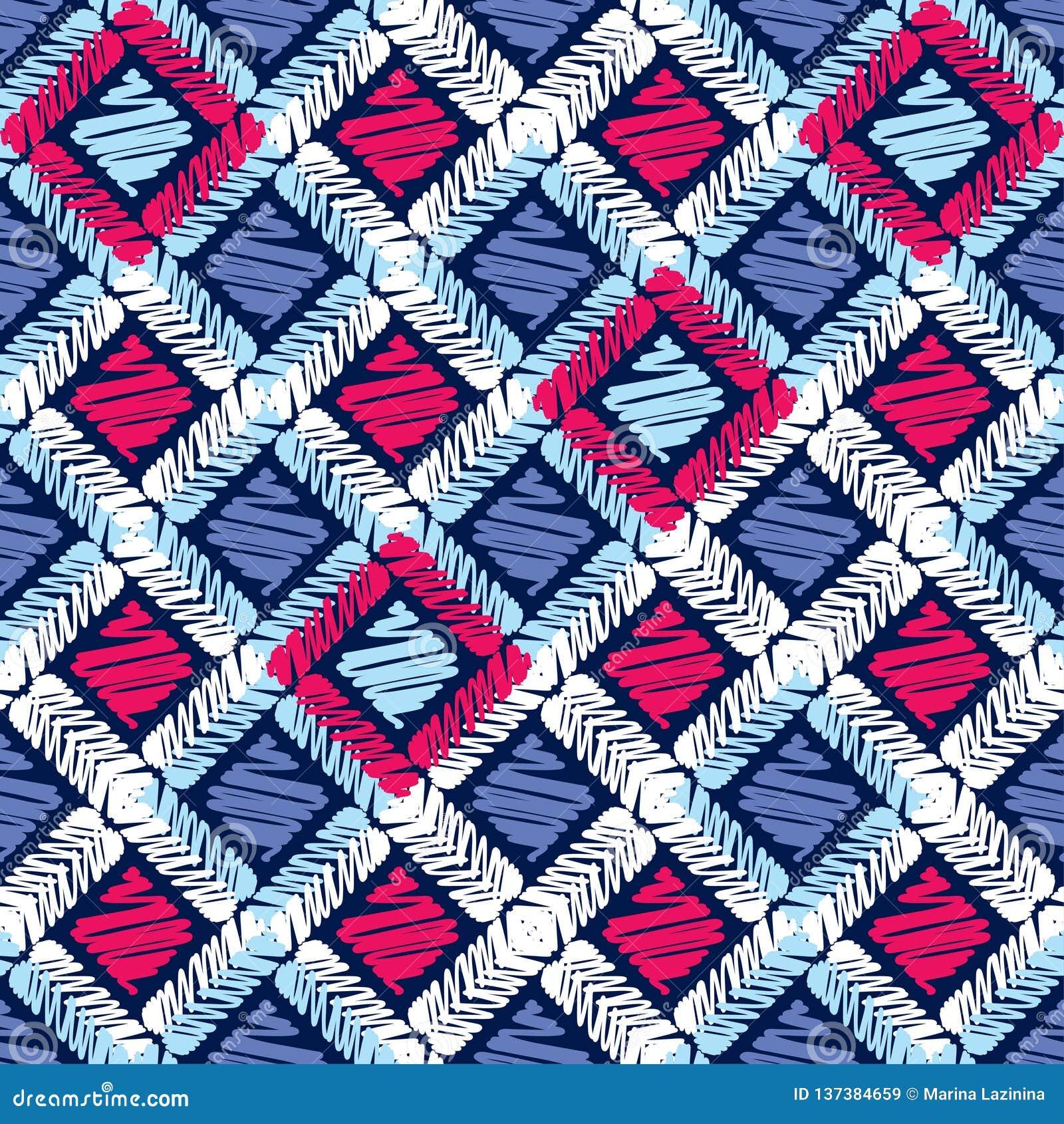 Etnicznego boho bezszwowy wzór kolorowa hafciarska tkanina tradycyjne ornament plemienny wzoru Ludowy motyw