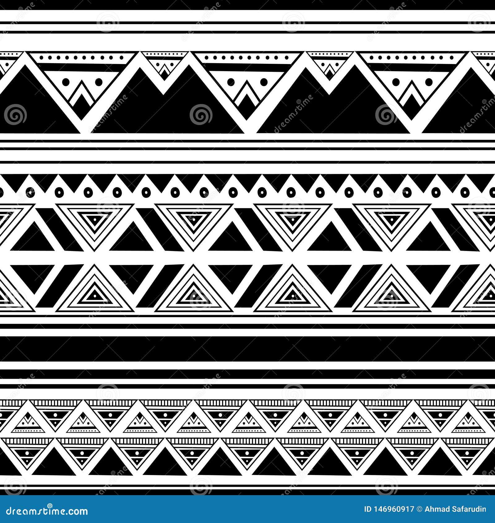 Etniczny deseniowy rysunkowy tło z bezszwowa ręka rysującym czarny i biały koloru afrykanina abstrakcjonistycznym stylem dla druk