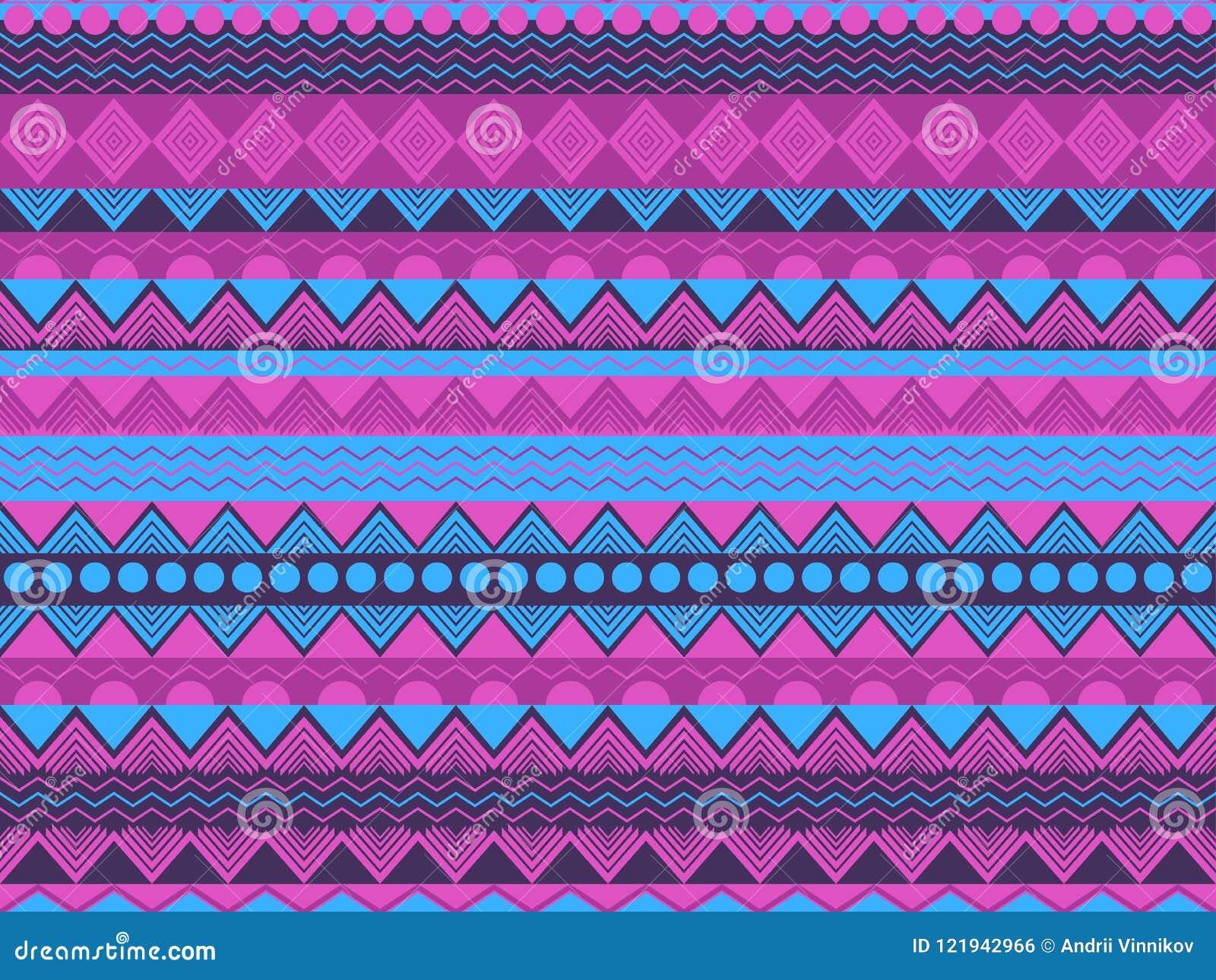 Etnisch naadloos patroon, violette en blauwe kleur Stammentextiel, hippiestijl Voor behang, bedlinnen, tegels, stoffen