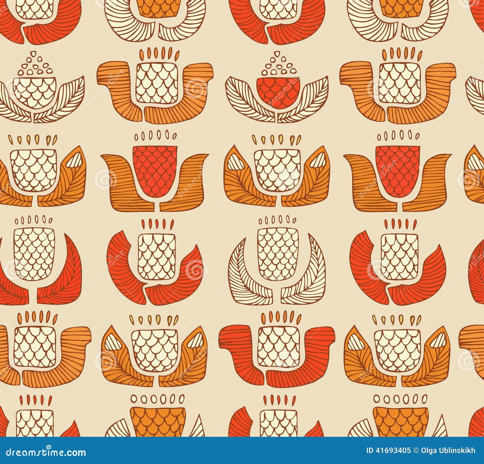 Etnisch patroon met decoratieve bloemen, knoppen en bladeren Eindeloze achtergrond met sier inheemse elementen