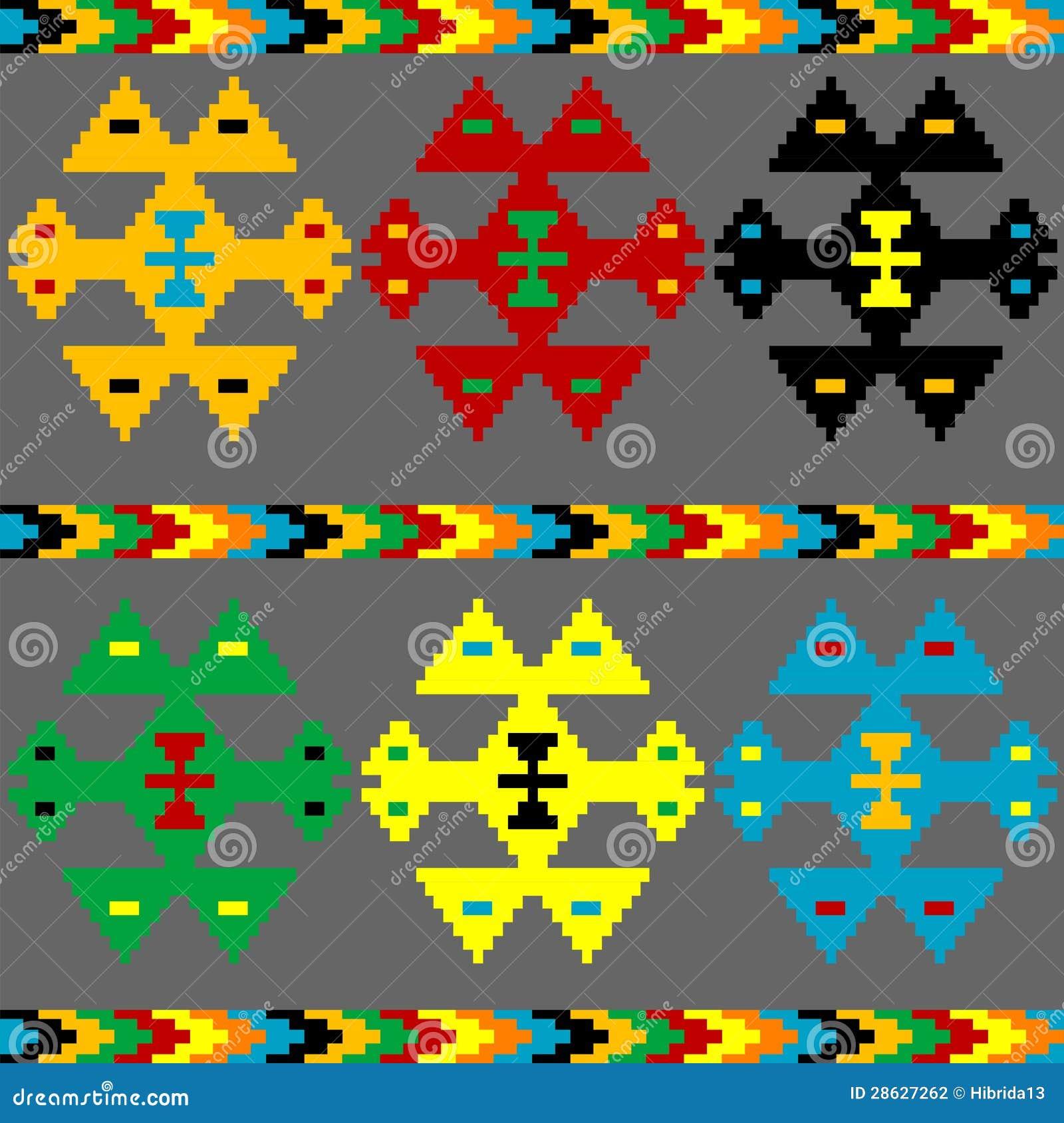 Etnische motieven achtergrond met kleurenelementen stock fotografie afbeelding 28627262 - Etnische pouf ...
