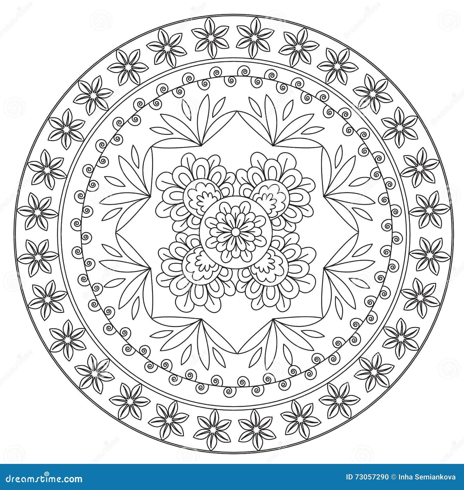 Etnisk blommaMandala för färgläggning