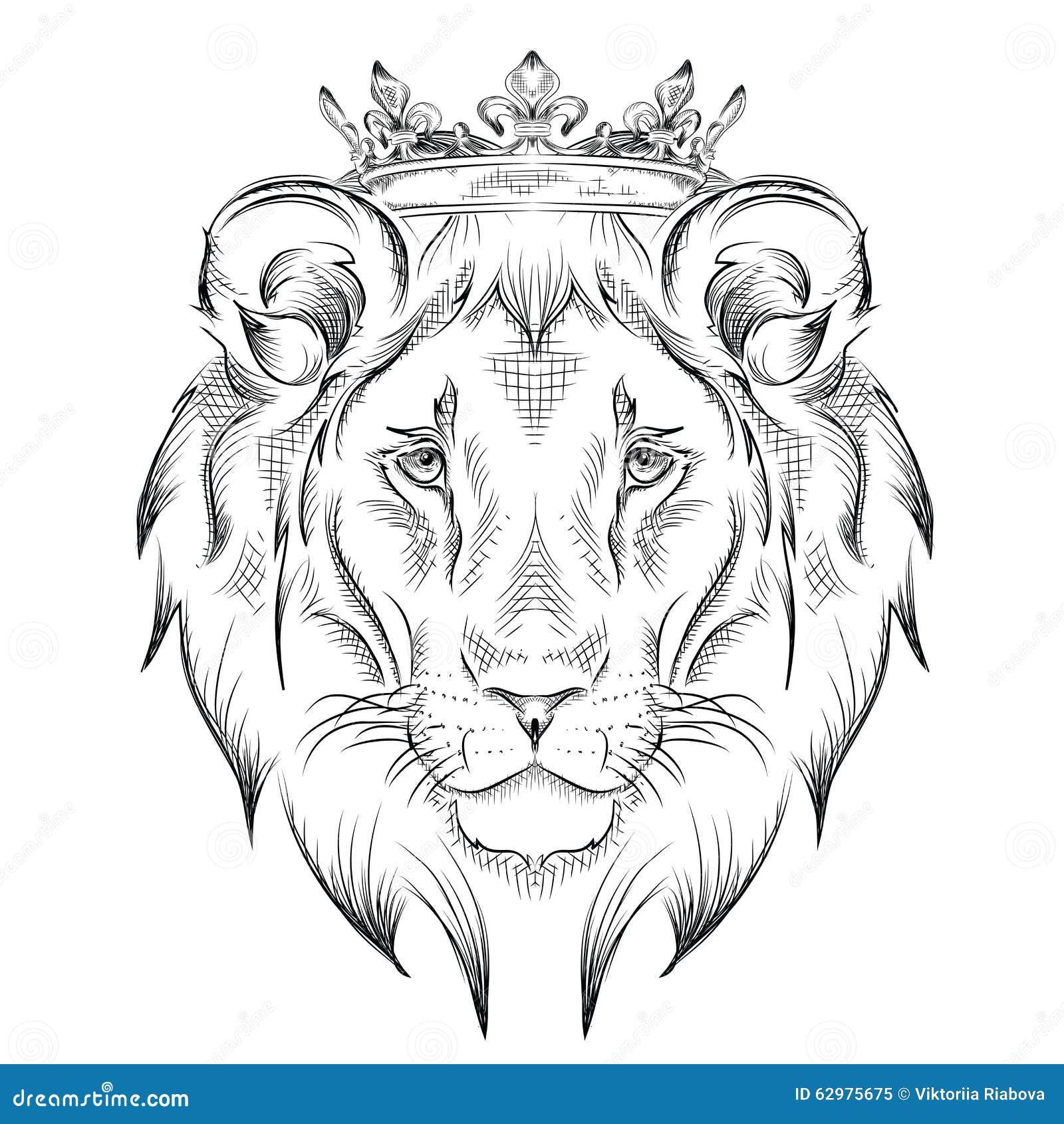 Etniskt handteckningshuvud av lejonet som bär en krona totem-/tatueringdesign Bruk för trycket, affischer, t-skjortor också vekto