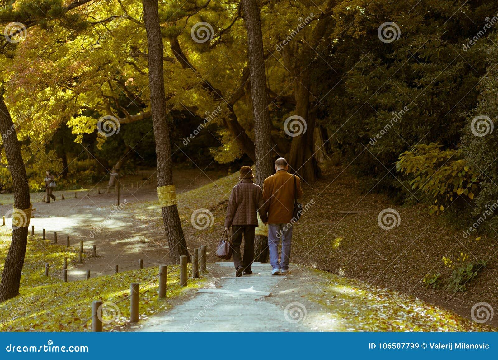 Ett äldre par som tycker om en gå under hösten i Hamarikyu trädgårdar, Tokyo, Japan