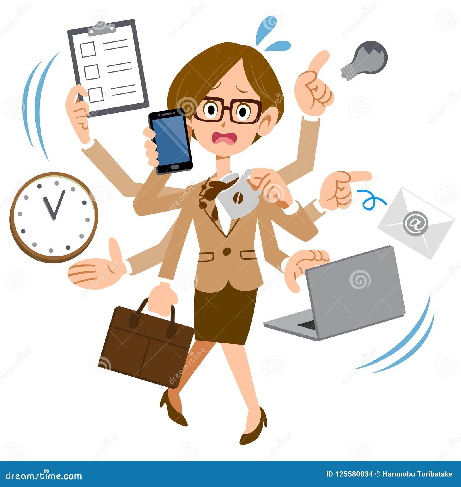 Ett bärande exponeringsglasarbete för kvinna på ett företag som är för upptaget
