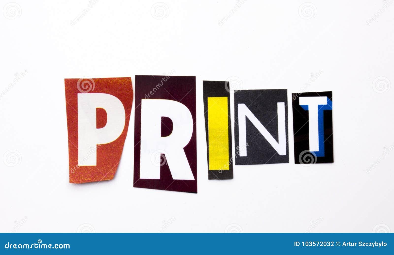 Ett begrepp för visning för ordhandstiltext av trycket som göras av den olika tidskrifttidningsbokstaven för affärsfall på den vi