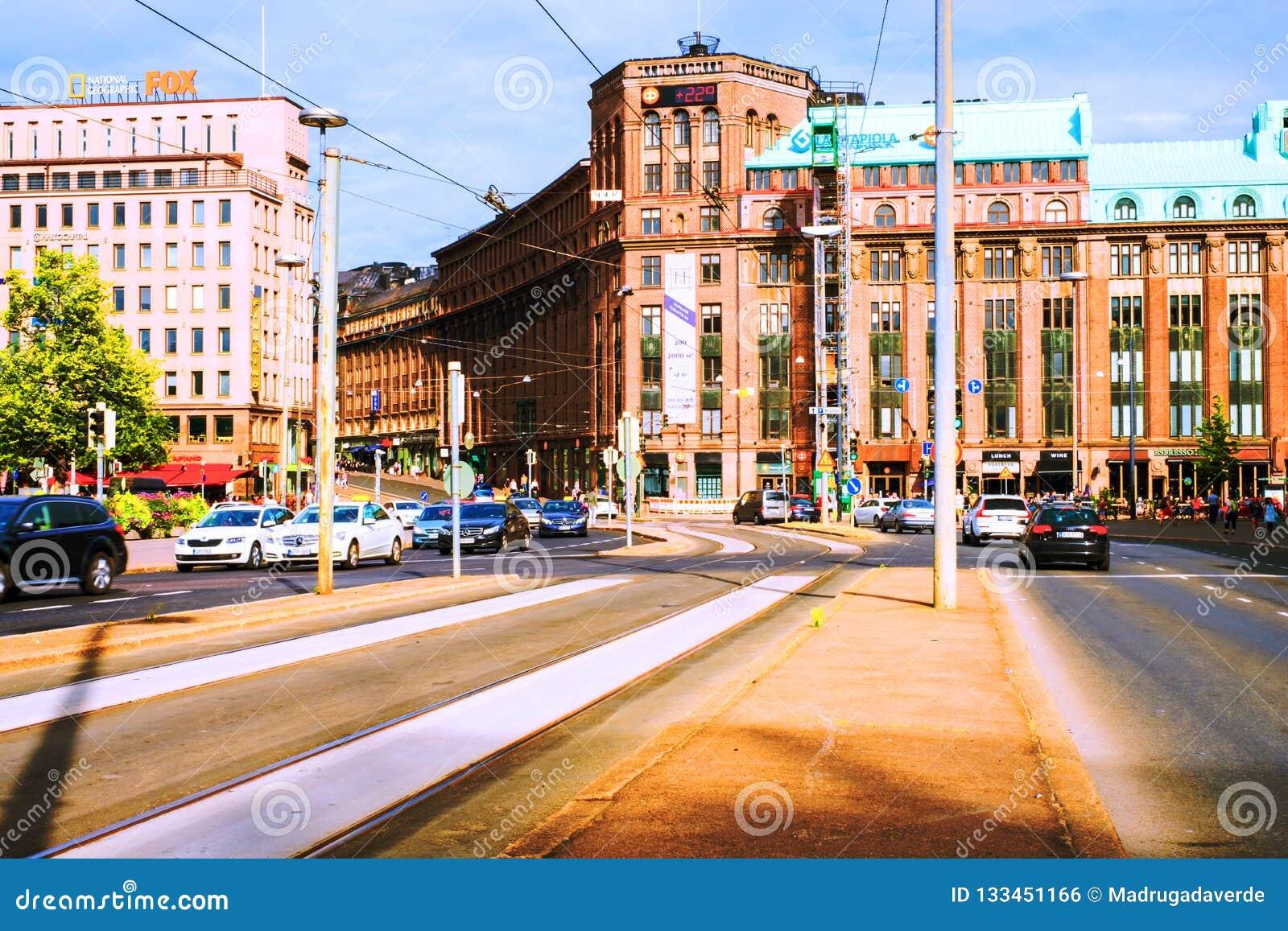 Ett centrum i Helsingfors, Finland, i det centrala området för drevstation