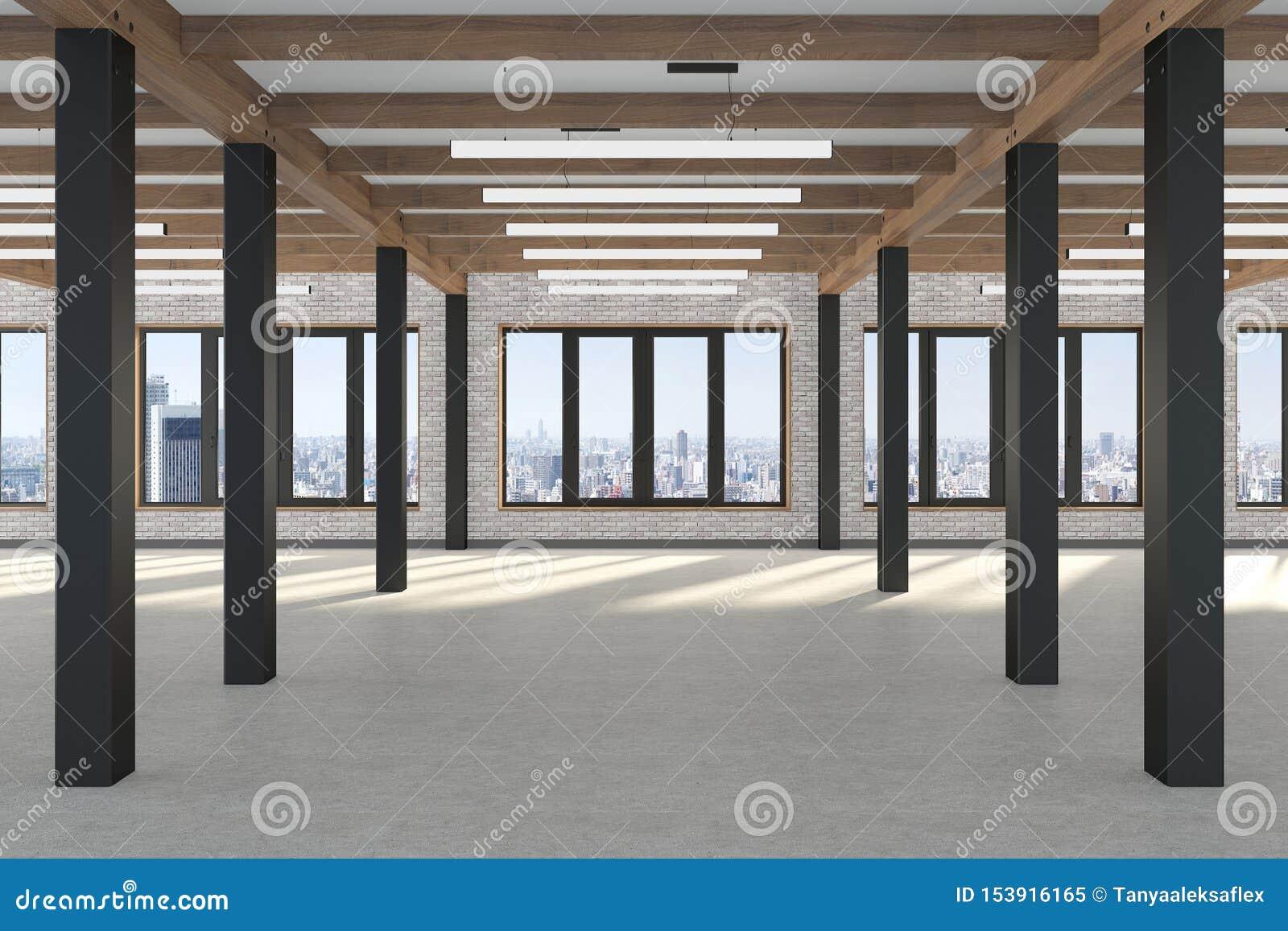 Ett enormt tomt rum med stora fönster som förbiser metropolisen, järnkolonnerna och trästrålarna i vindstilen konkret golv