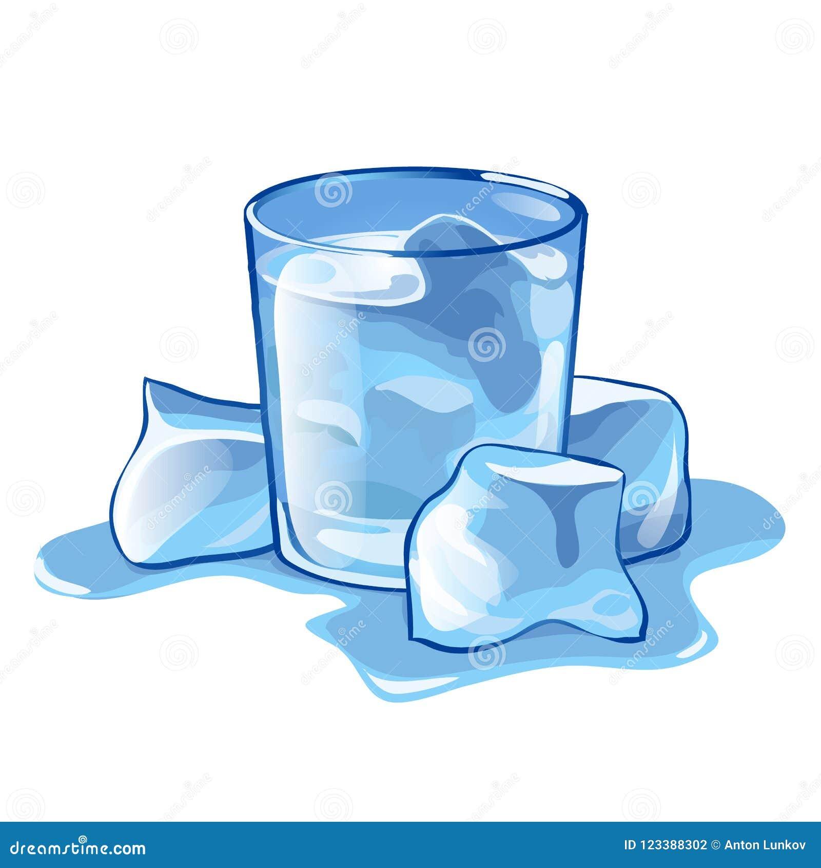 Ett exponeringsglas av vatten med iskuber som isoleras på vit bakgrund Illustration för vektortecknad filmnärbild