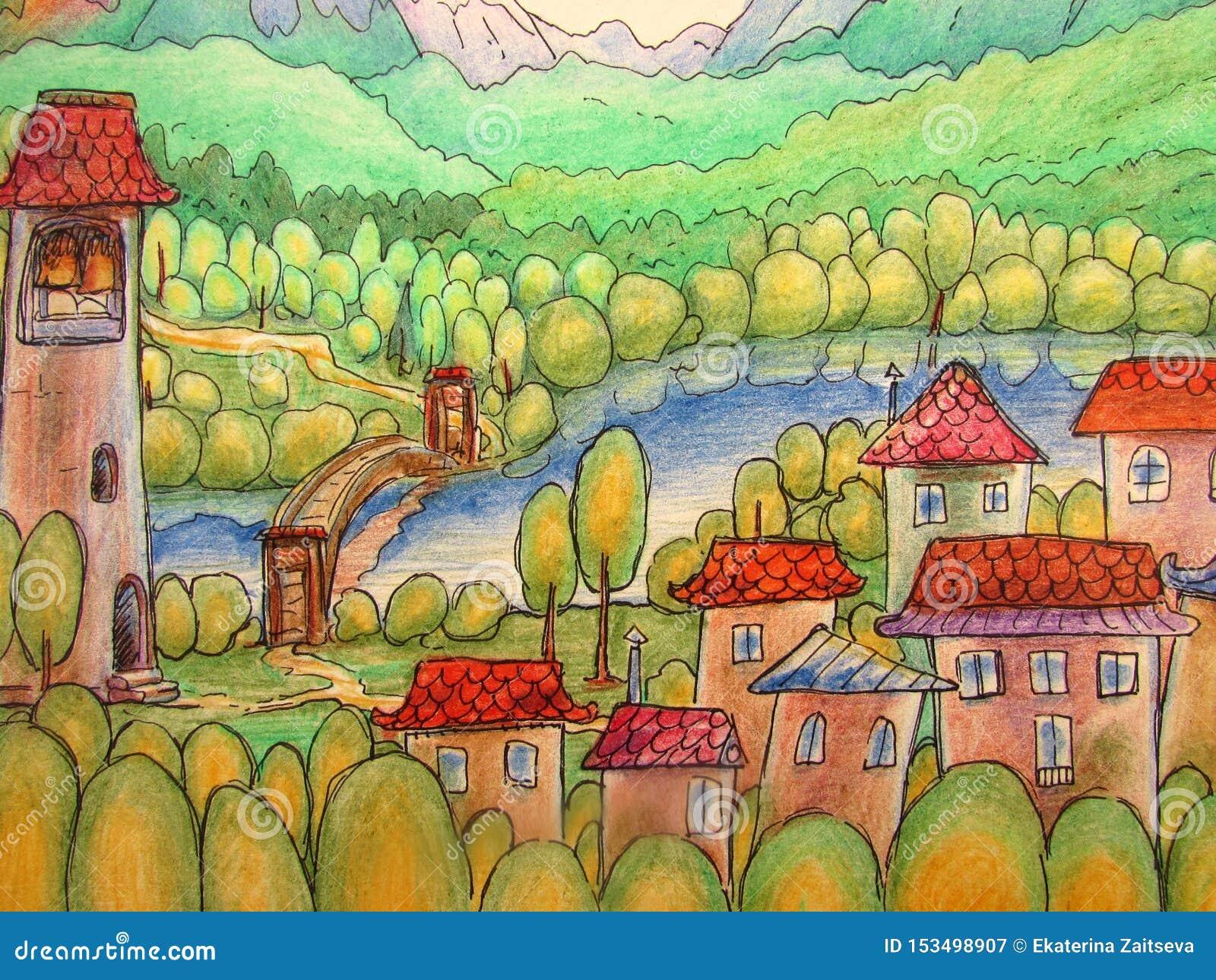 Ett färgrikt sagalandskap med en liten stad med hus och ett torn, en flod, berg och en skog