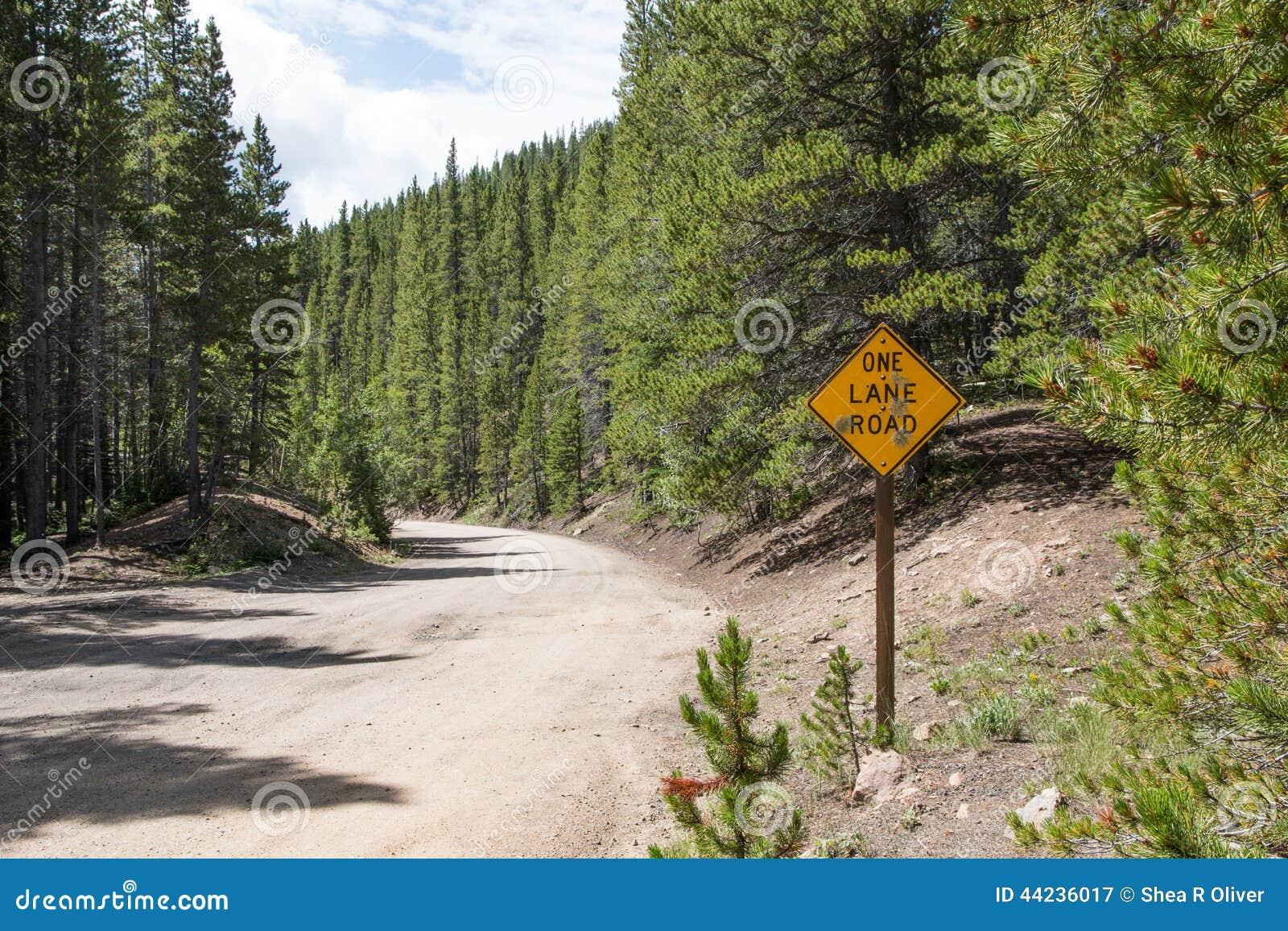 Ett grändvägmärke i bergen