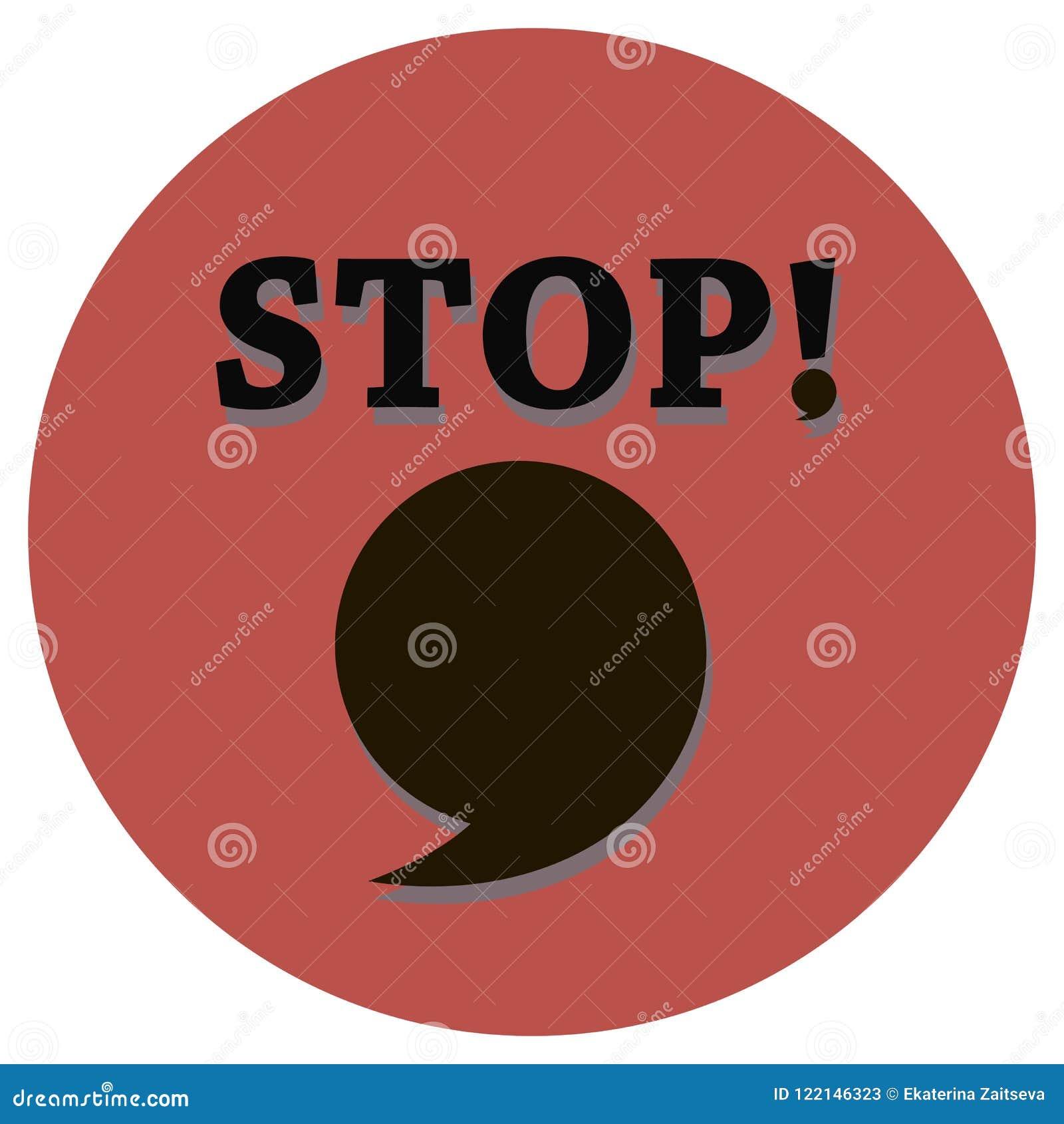 Ett inskriftstopp med ett voxlic tecken och ett stort komma bubblar för en kopia på en röd cirkelbakgrund i mitt av en vektor