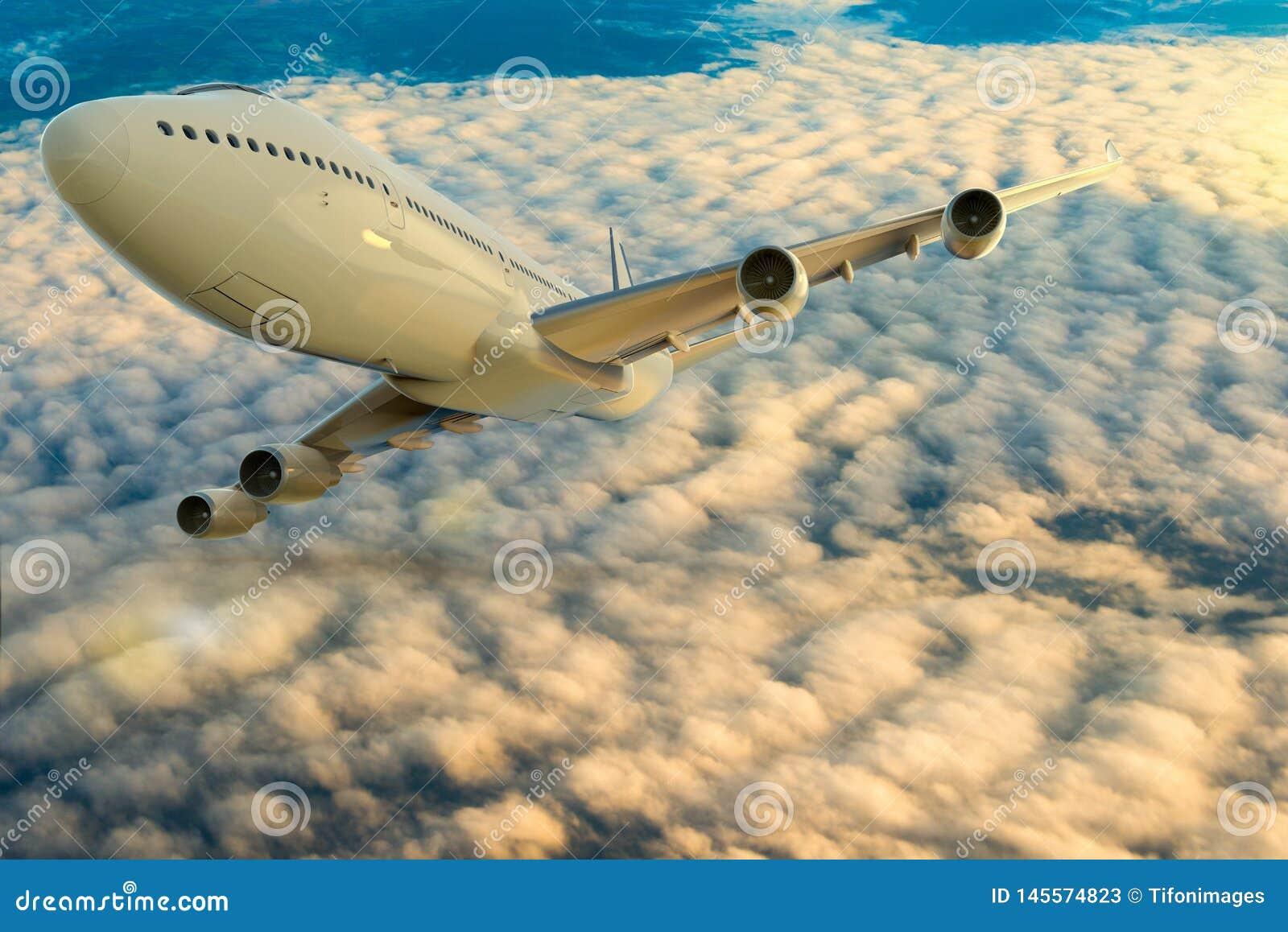 Ett kommersiellt flygplan p? flyg ?ver molnen