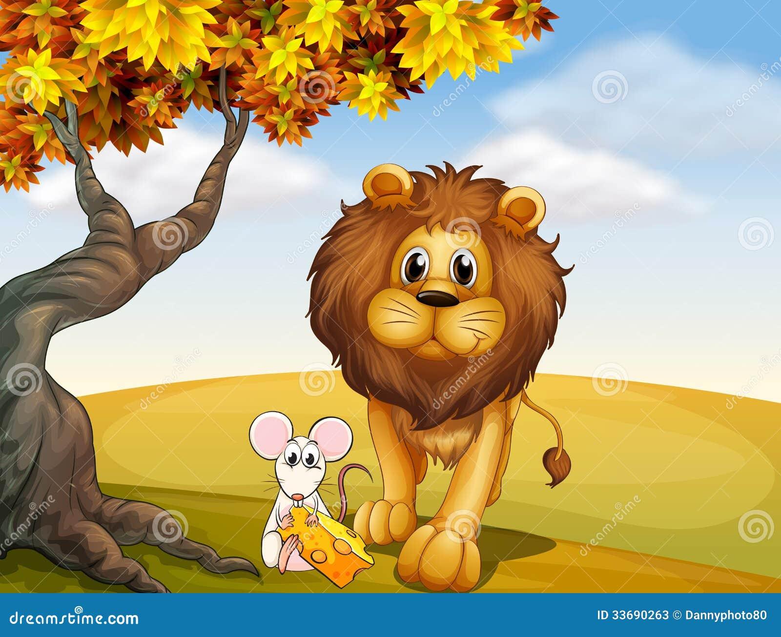 Ett Lejon Och En Mus Stock Illustrationer Illustration Av