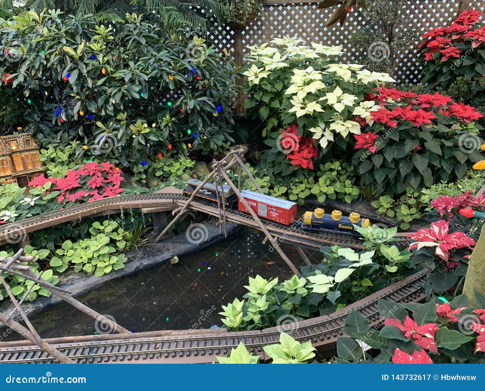 Ett litet drev som skickar till och med blommorna i blommahuset
