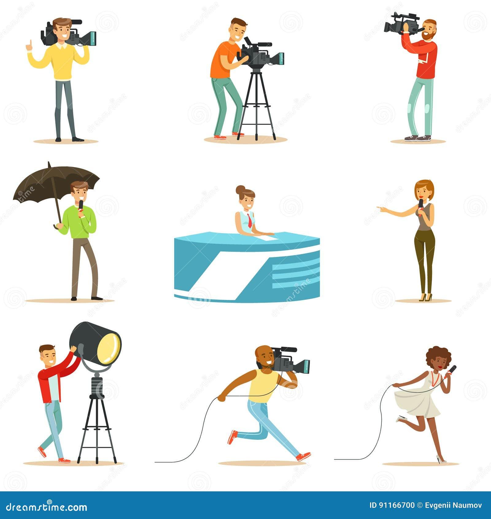 Ett nyhetsprogrambesättning av yrkesmässiga kameraman och journalister som skapar TVTV-sändning av Live Television Set Of Cartoon