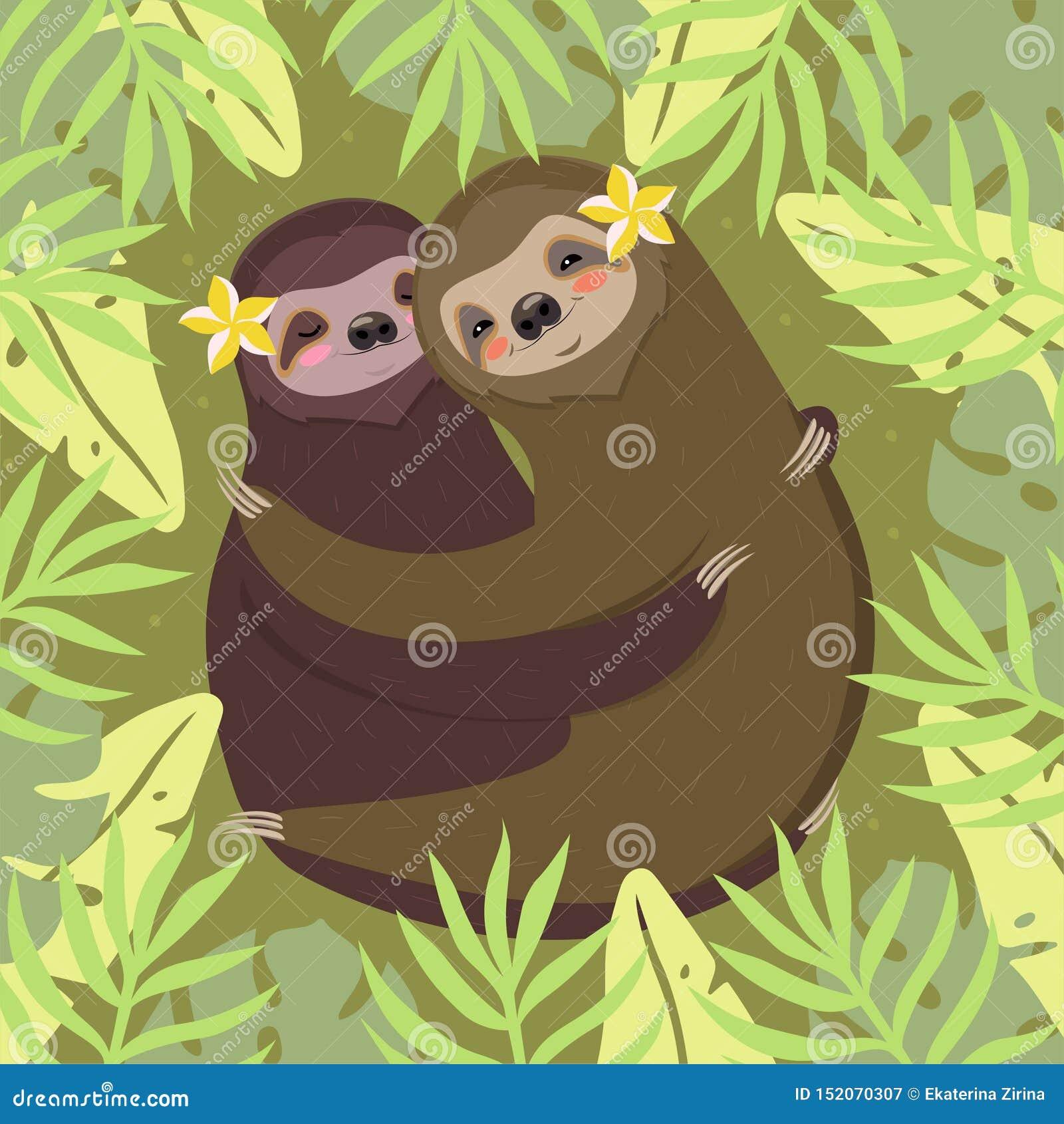 Ett par av att krama för sengångare Grönt kort med palmblad och sengångare bl? vektor f?r sky f?r oklarhetsbildregnb?ge