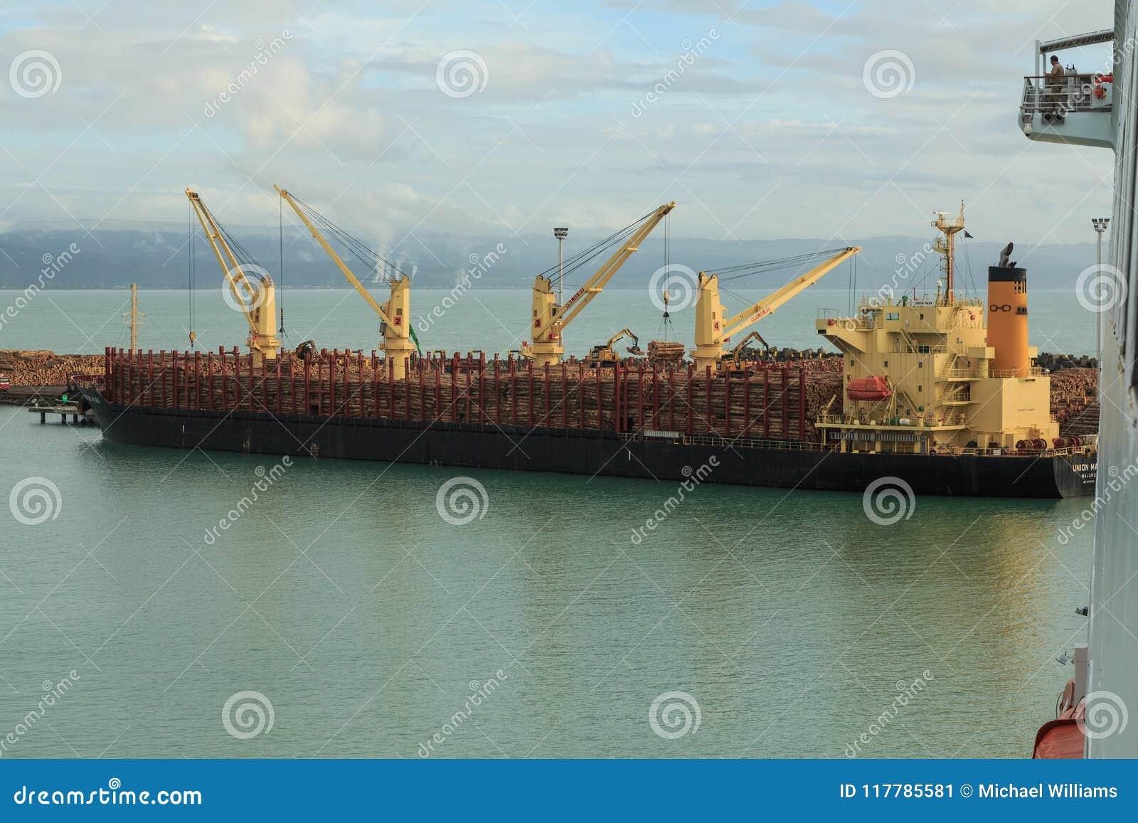 Ett skepp för bärare i stora partier som tar på en stor last av journaler