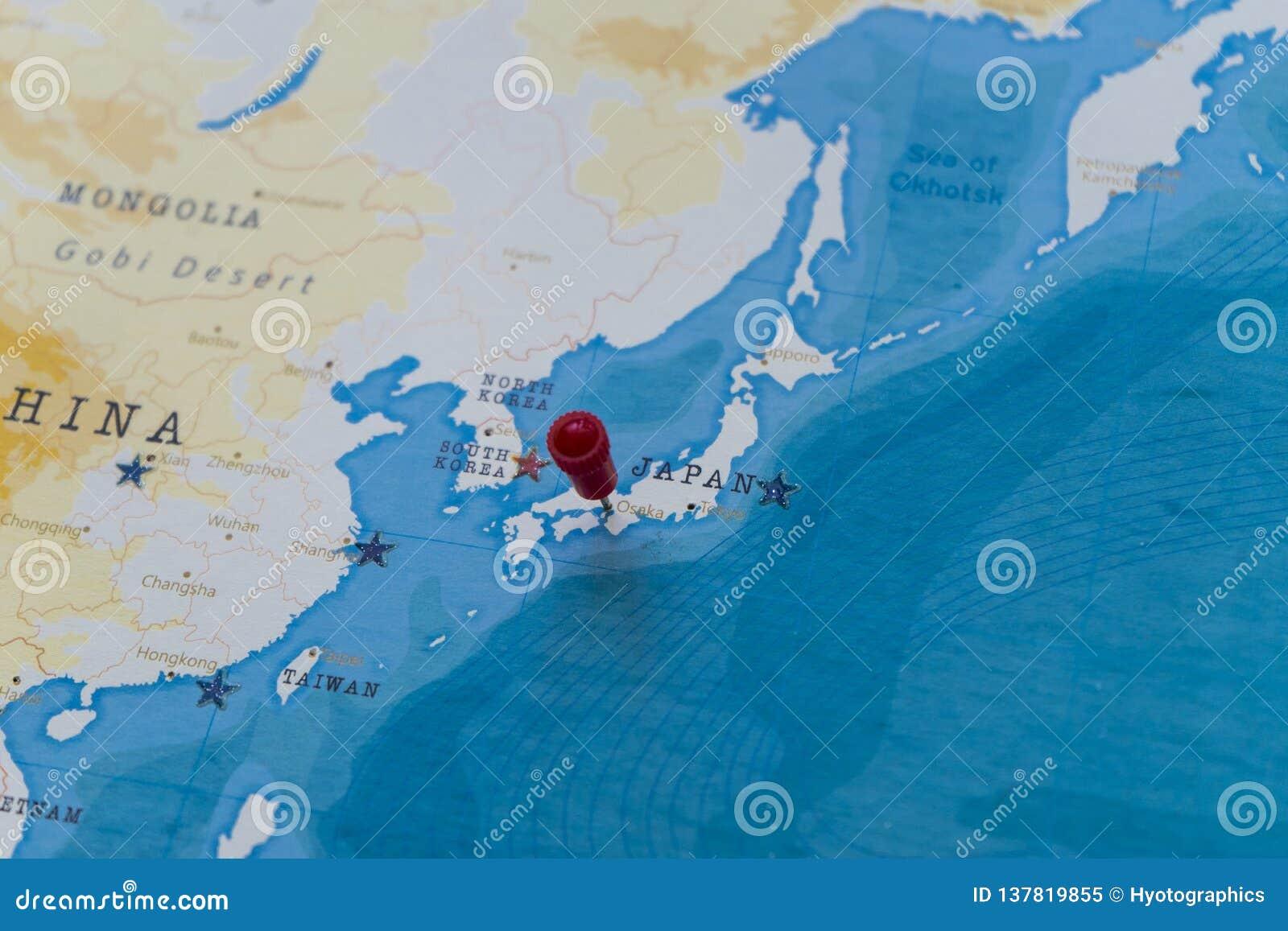 Ett stift på osaka, Japan i världskartan