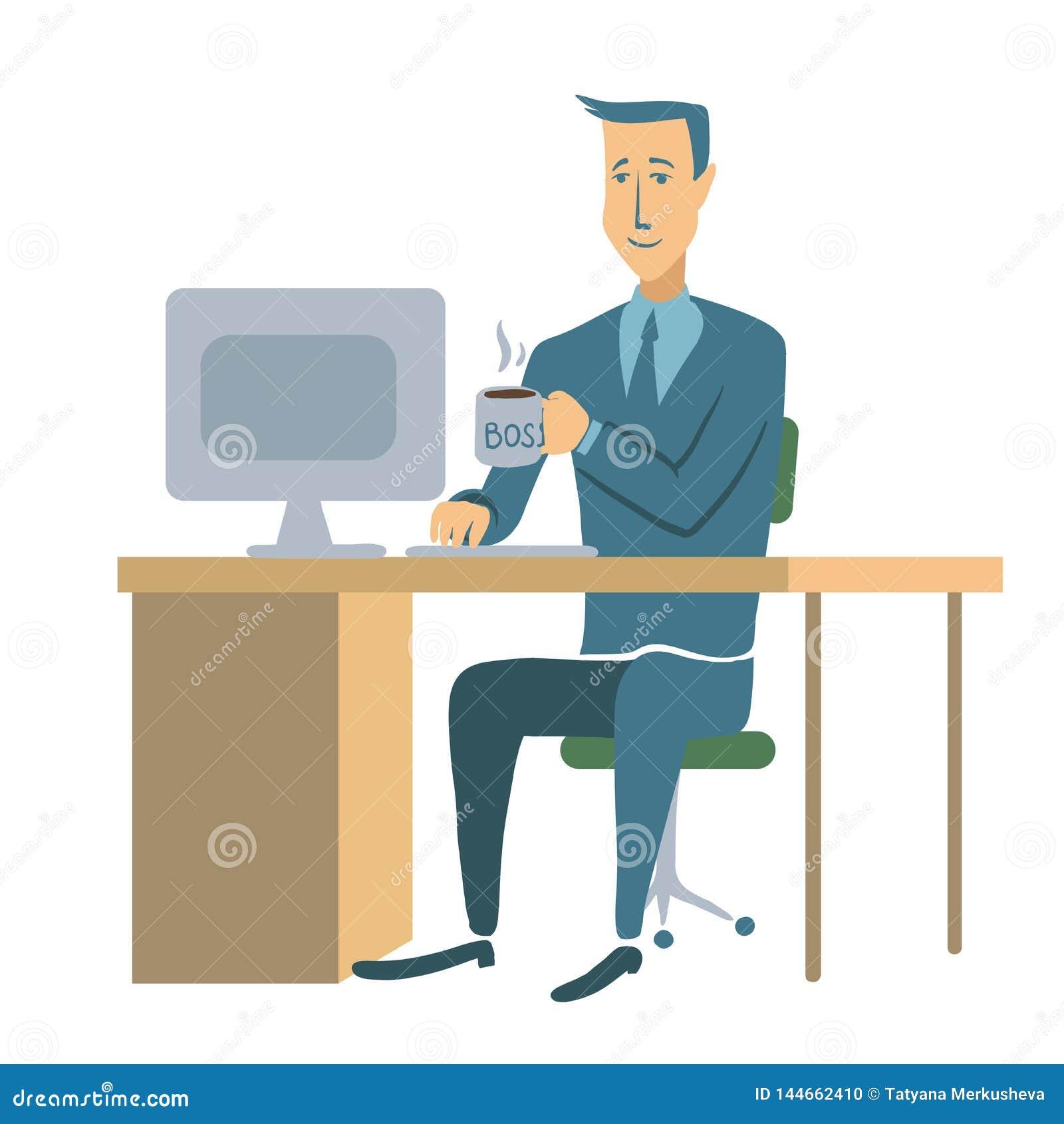 Ett ungt affärsman- eller för kontorsarbetare sammanträde på en tabell och arbete på en dator Manteckenillustration som isoleras