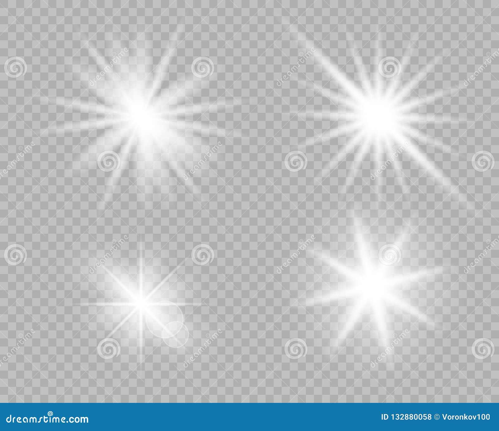 Ett val av vita ljusa objekt av ljus, ilsken blick Blänka explosionen, stjärnasken Vektorgarnering av det nya året, jul