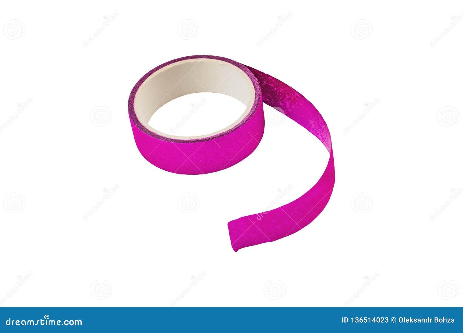 Ett violett självhäftande pappers- band för för ferieatt förpacka eller reparation som isoleras på vit
