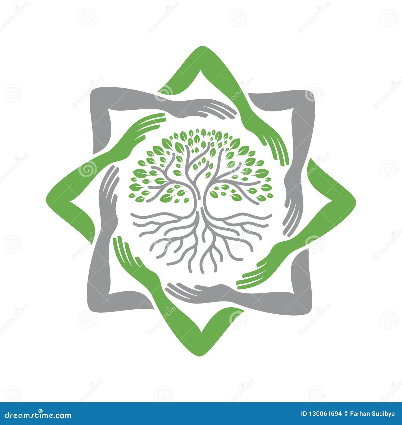 Etykietka oprócz drzewa z ręki ramą tworzy ośmioboczną gwiazdę