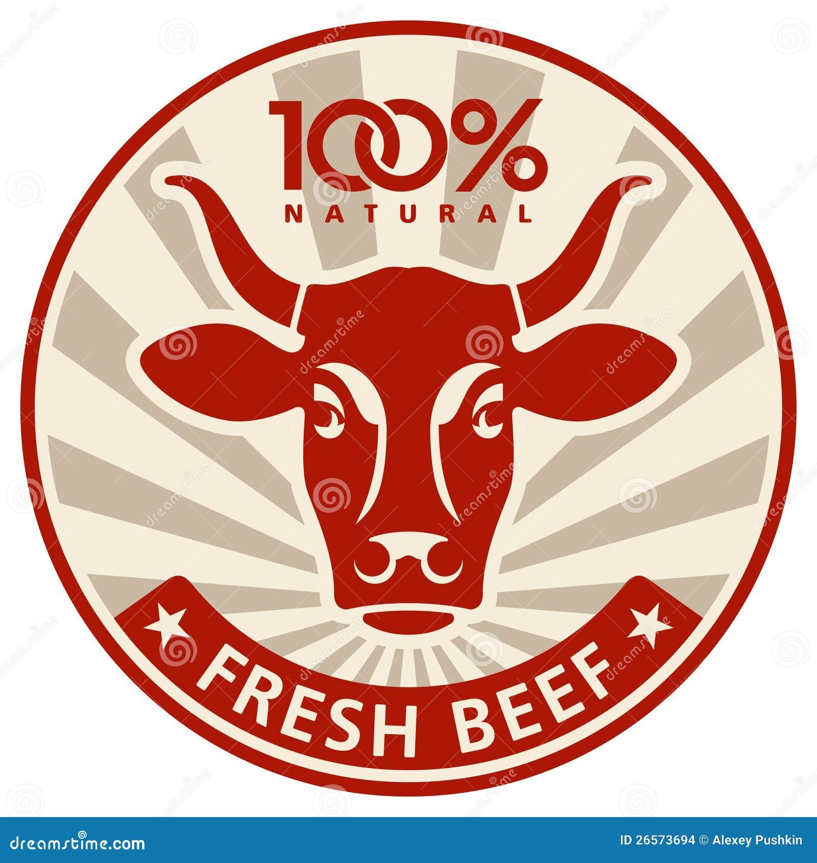 Etykietka z głową krowa