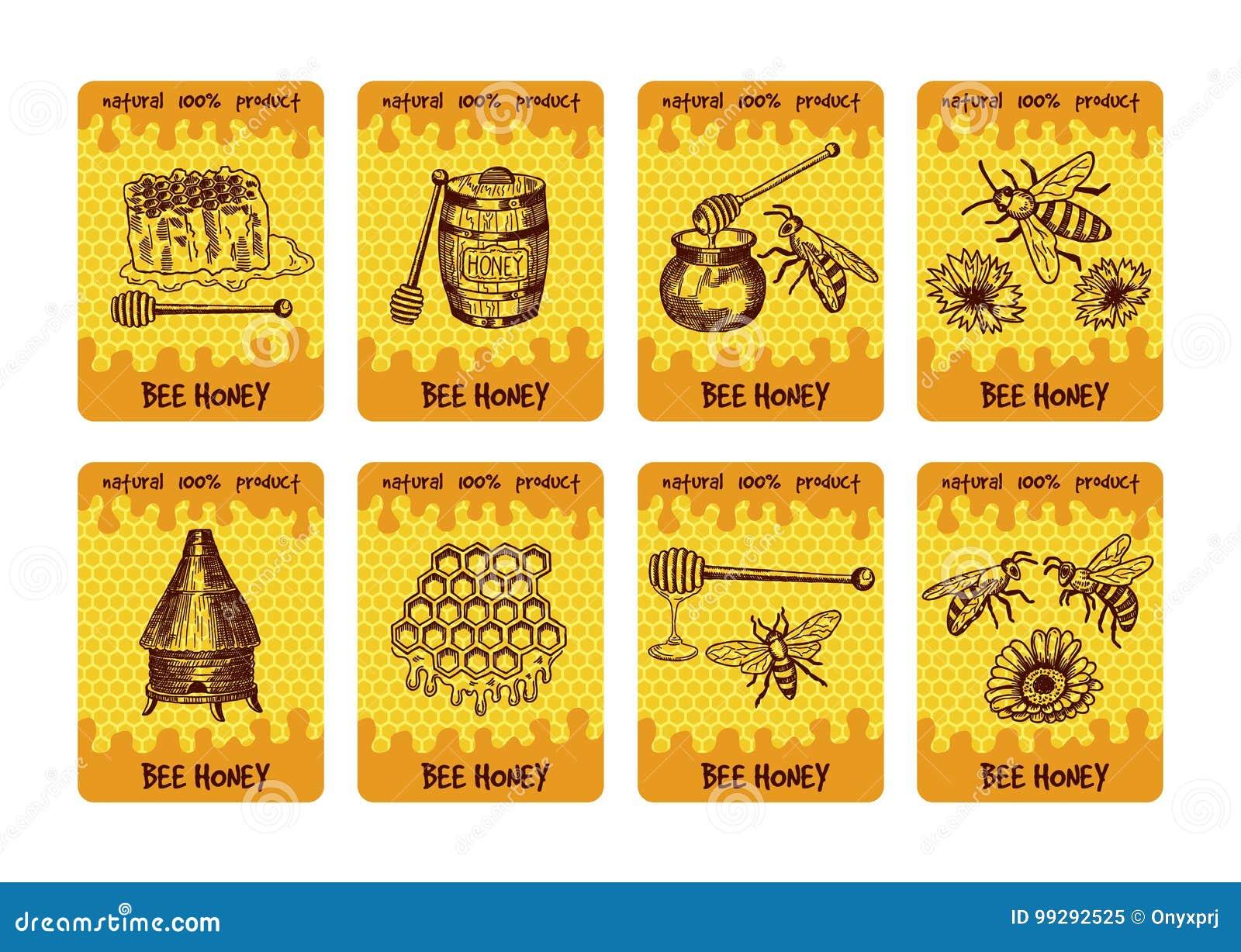 Etykietki projektują dla pakować miodowi produkty Ilustracje miód i honeycomb