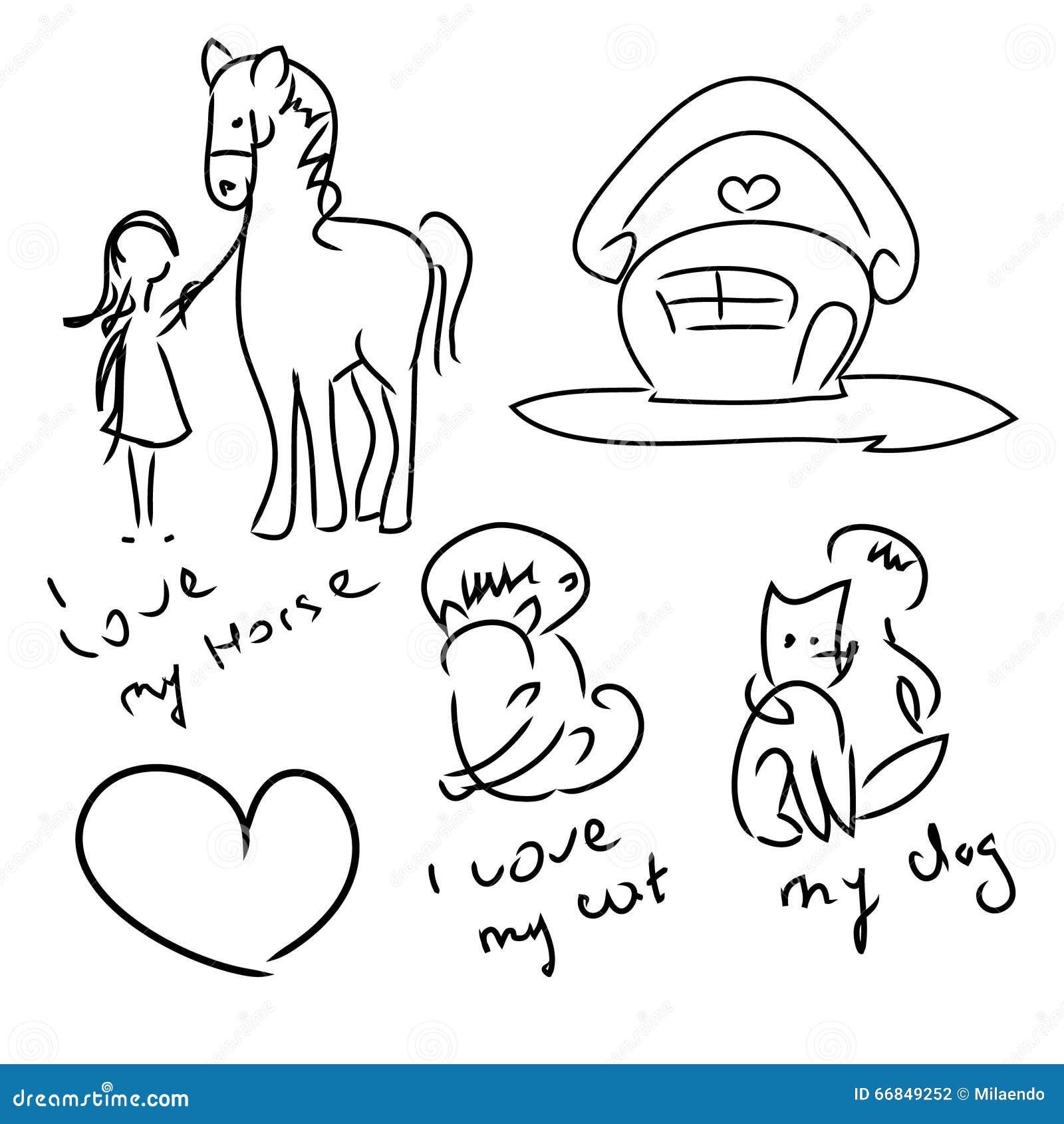Eu amo animais de estimação (ajuste das garatujas)