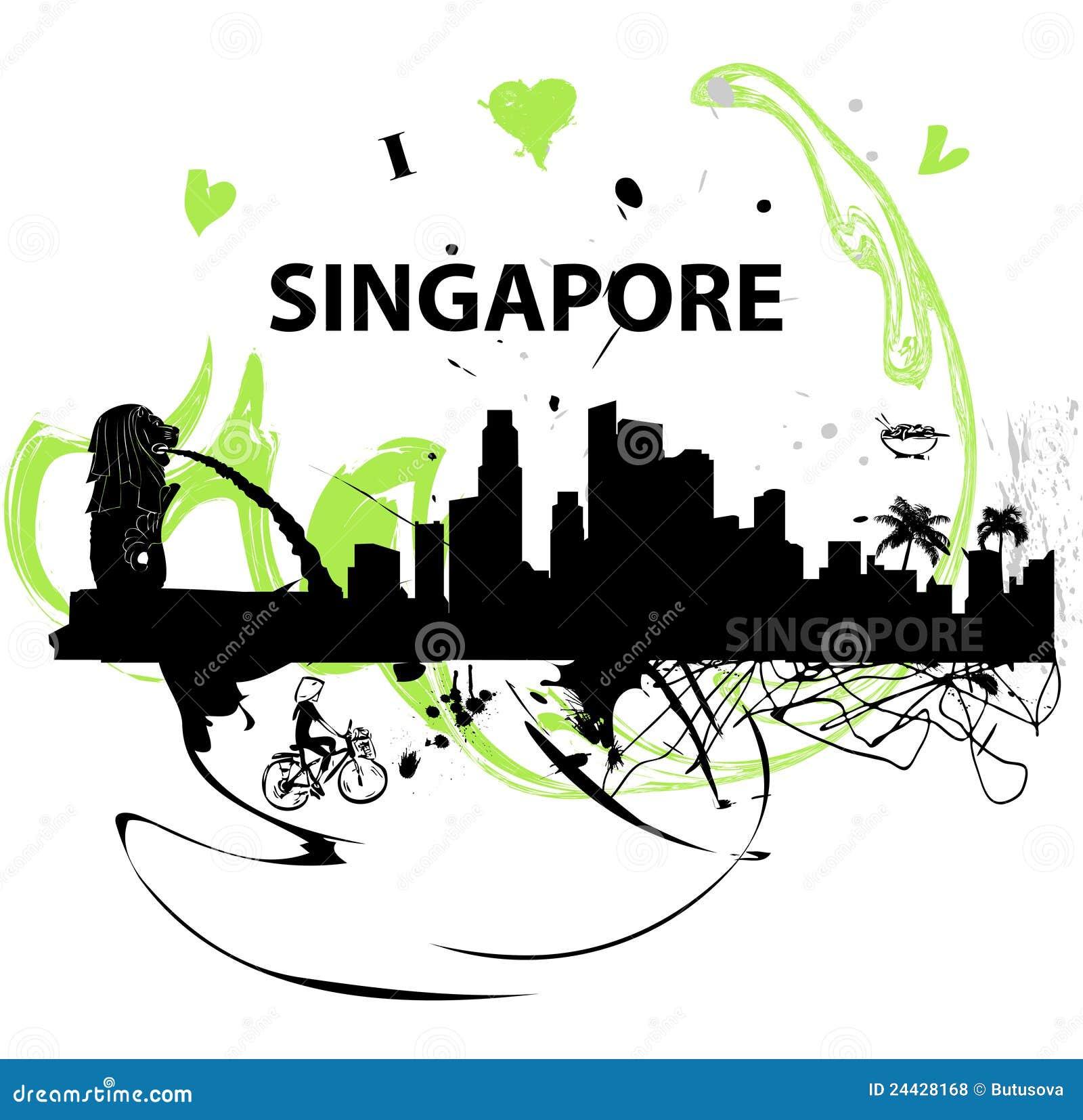 Eu amo o poster de Singapore
