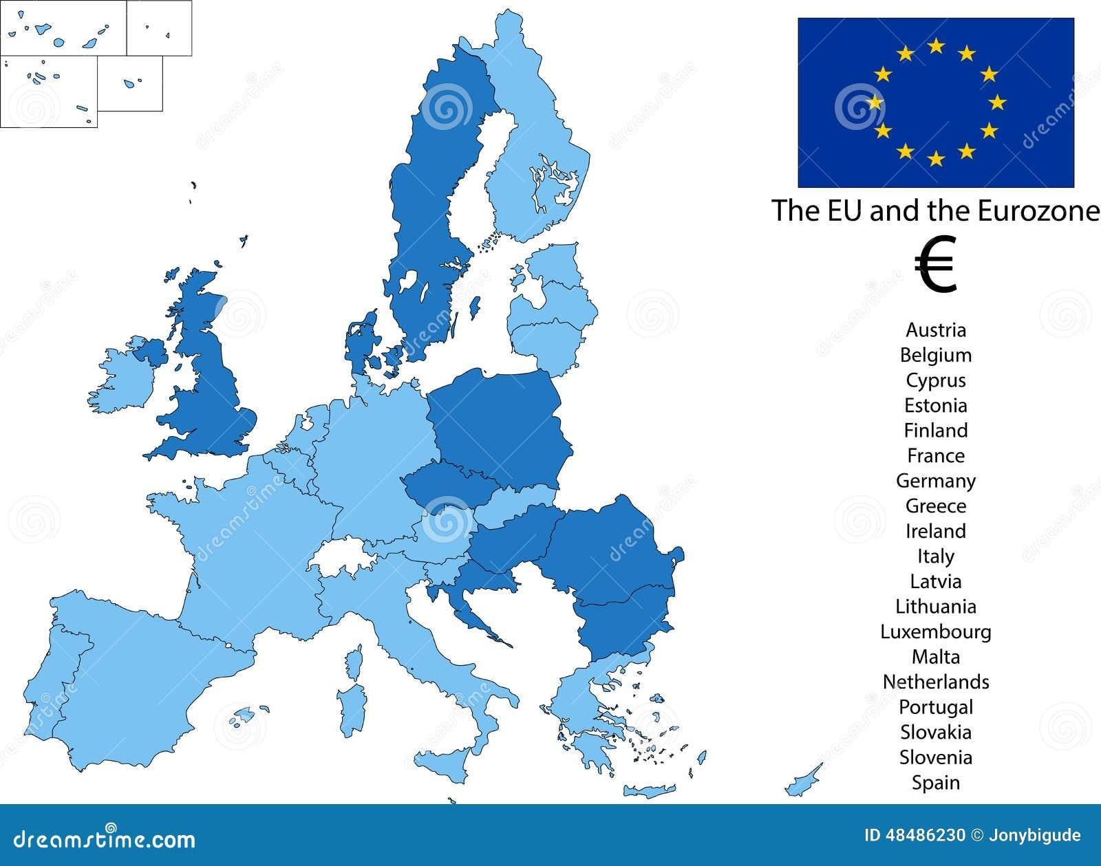 EU And The Euro Zone Stock Illustration Image - Belgium eurozone map