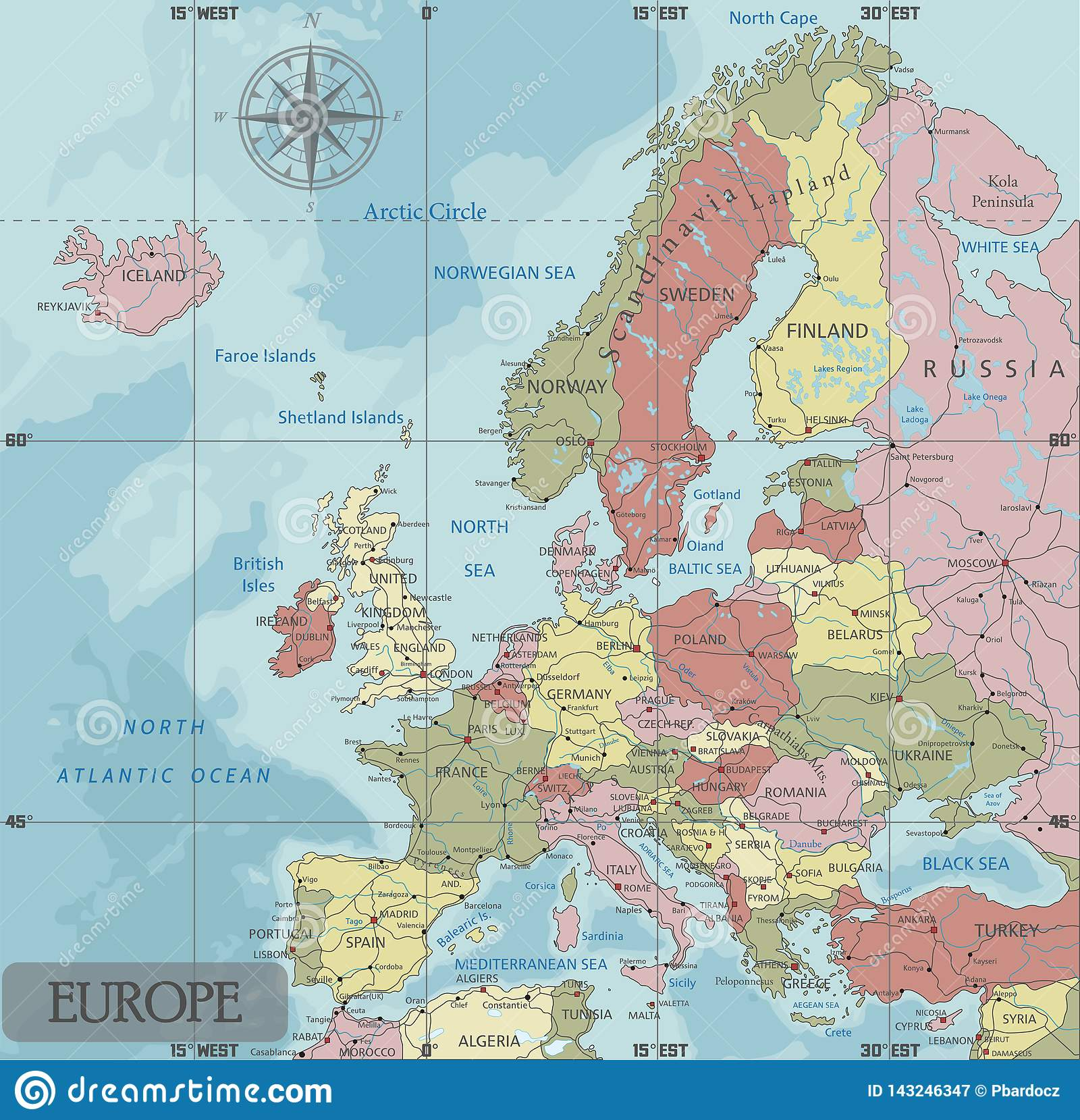 Detailed Europe Political Map In Mercator Projection. Stock ...