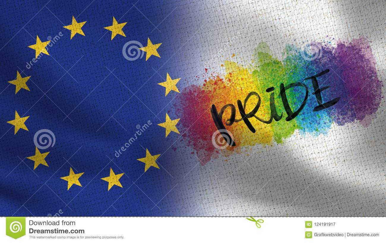 EU and Pride Day Realistic Half Flags Together