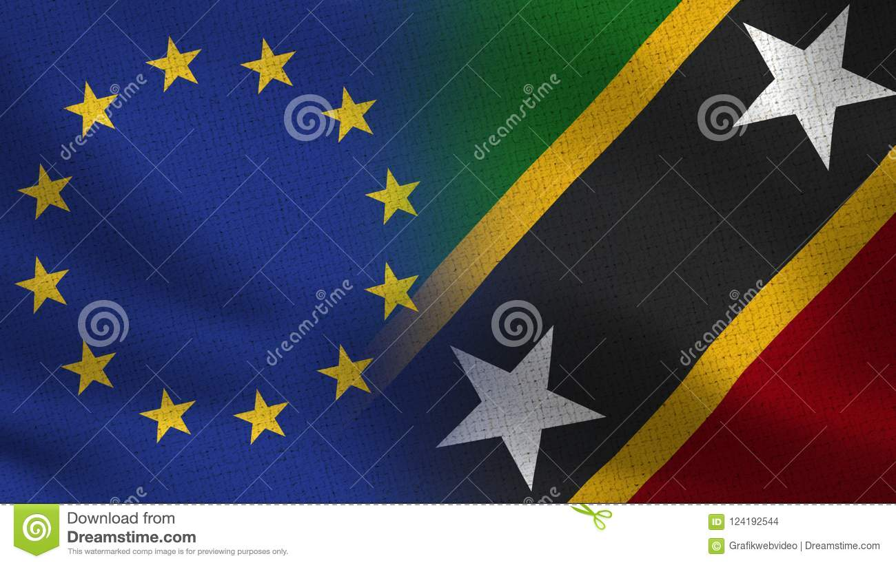 eu and saint kitts and nevis realistic half flags together stock