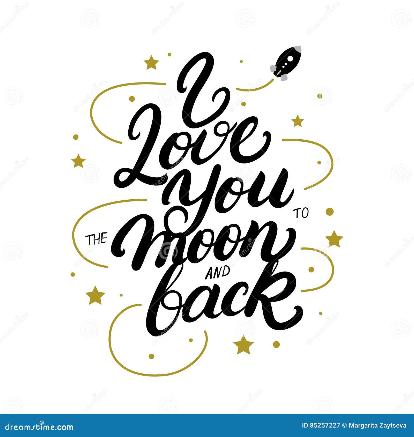 Eu te amo à lua e à mão traseira escritas rotulando o cartaz