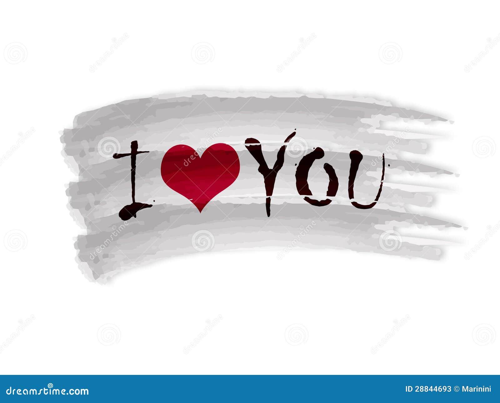 Eu Te Amo Escrito Na Areia Imagens De Stock Royalty Free: Eu Te Amo Com Coração Na Bandeira Do Desenho
