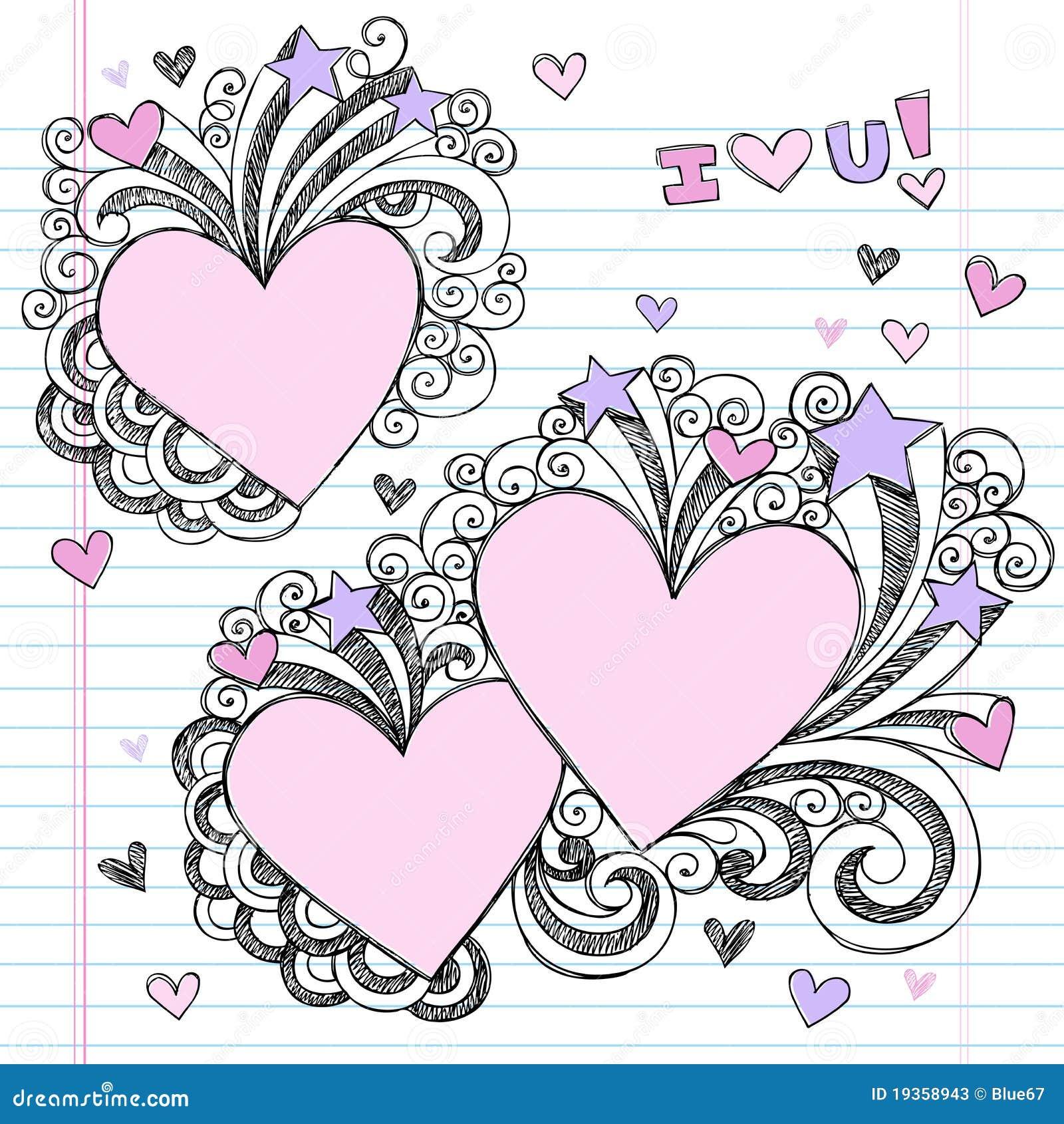 Eu te amo Doodles esboçado Hand-Drawn