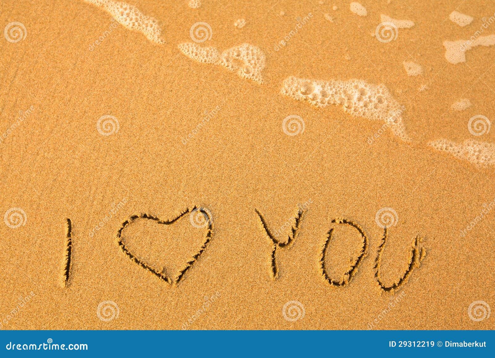 Eu Te Amo Escrito Na Areia Imagens De Stock Royalty Free: Escrito à Mão Na Areia Em Uma Praia Do Mar