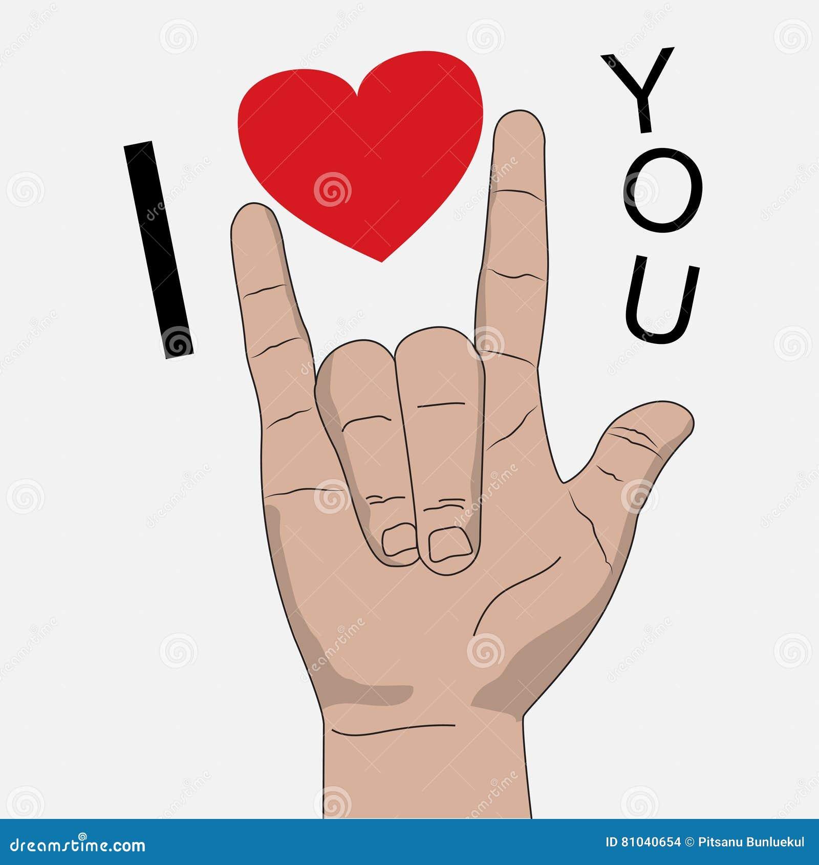 Eu te amo ilustração do vetor de sinal da mão